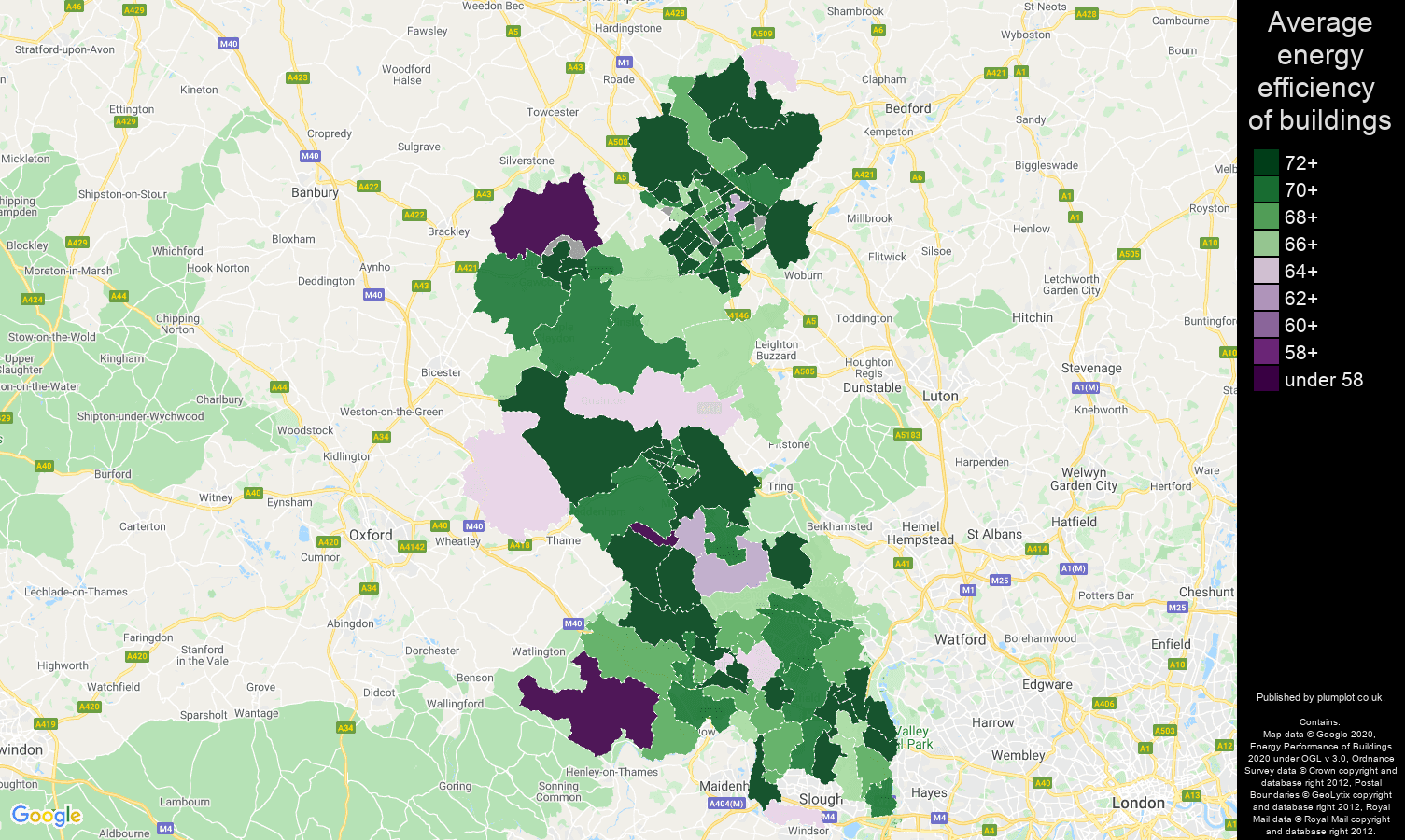 Buckinghamshire map of energy efficiency of flats