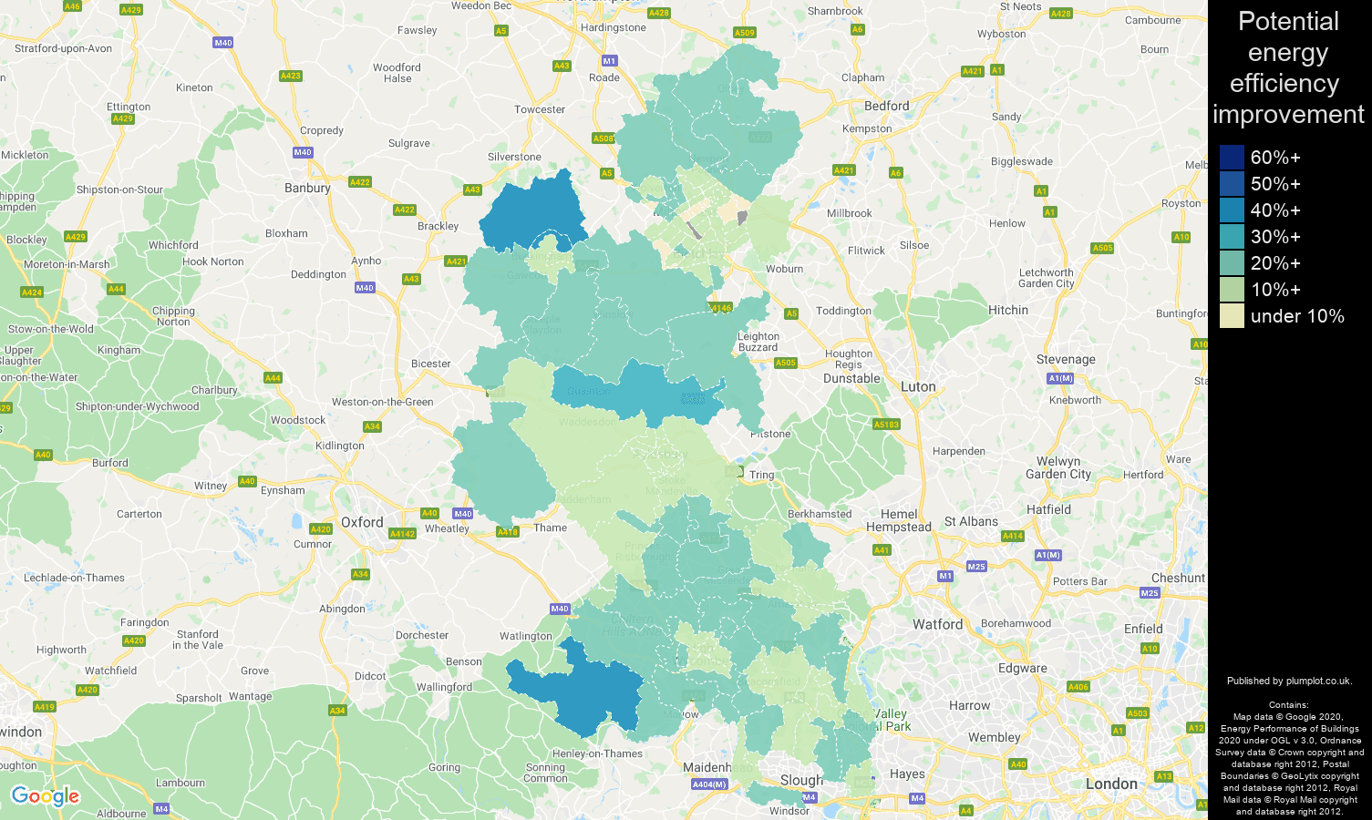 Buckinghamshire map of potential energy efficiency improvement of properties