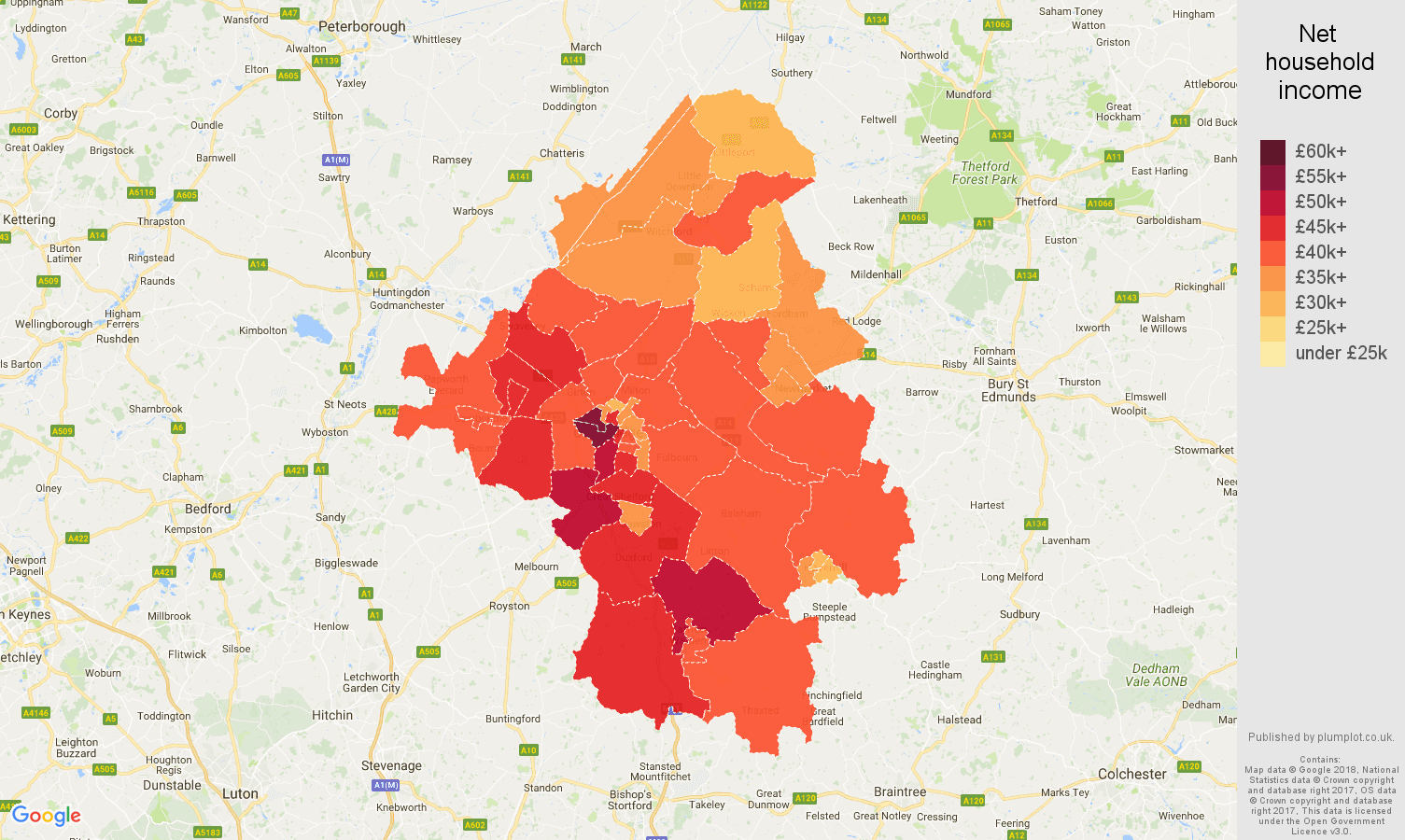 Cambridge net household income map