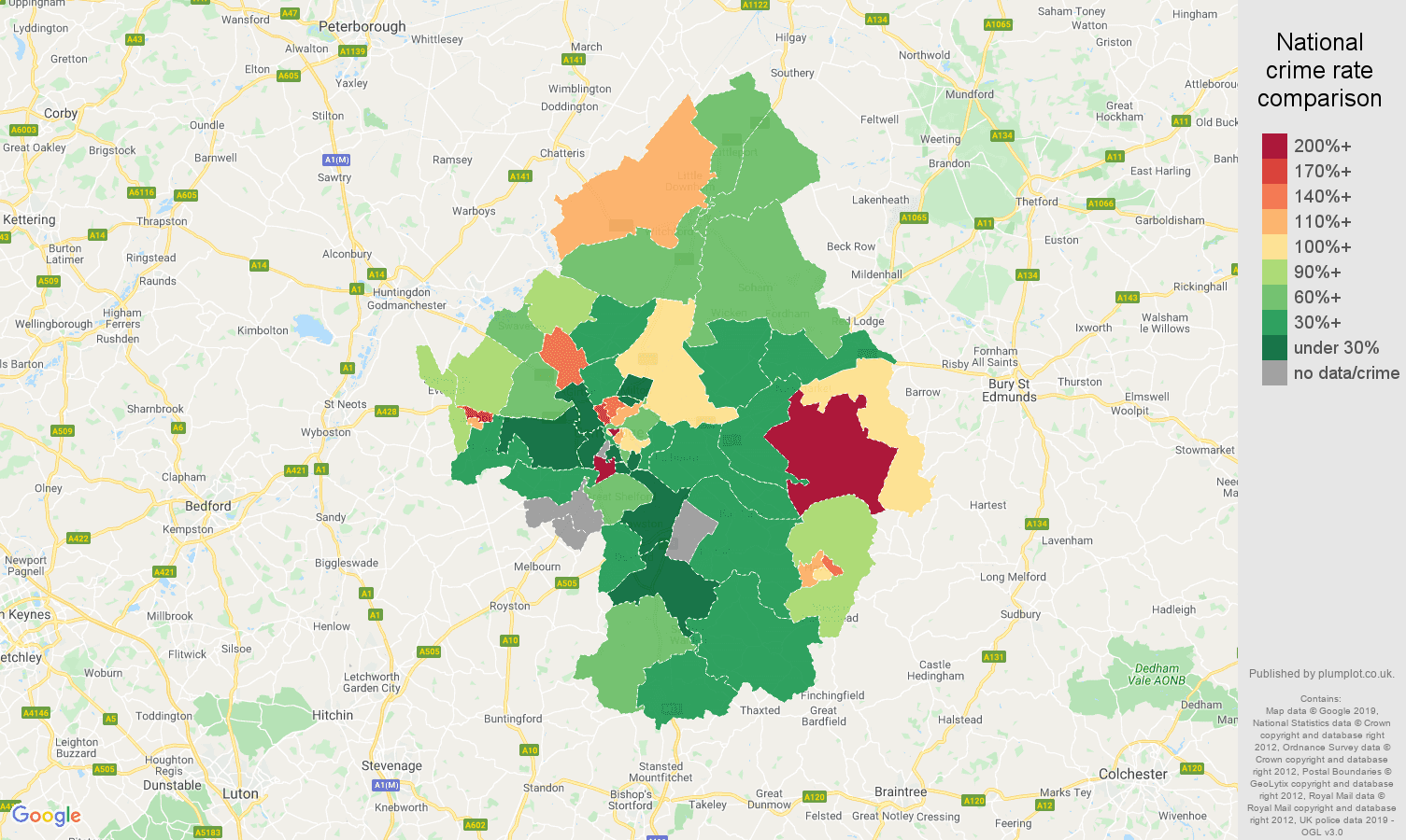 Cambridge other crime rate comparison map