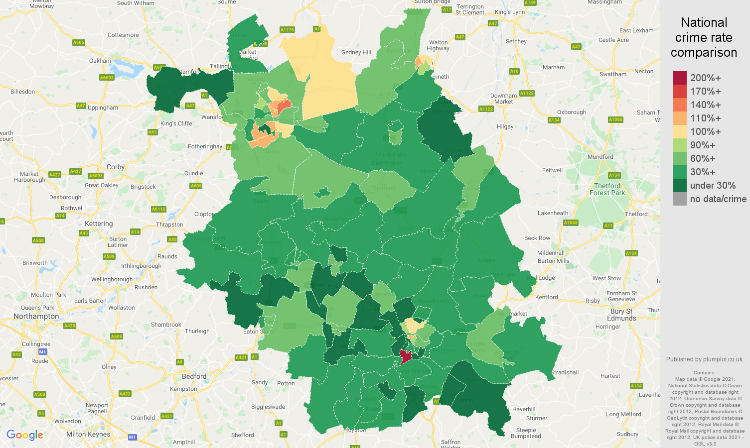 Cambridgeshire antisocial behaviour crime rate comparison map