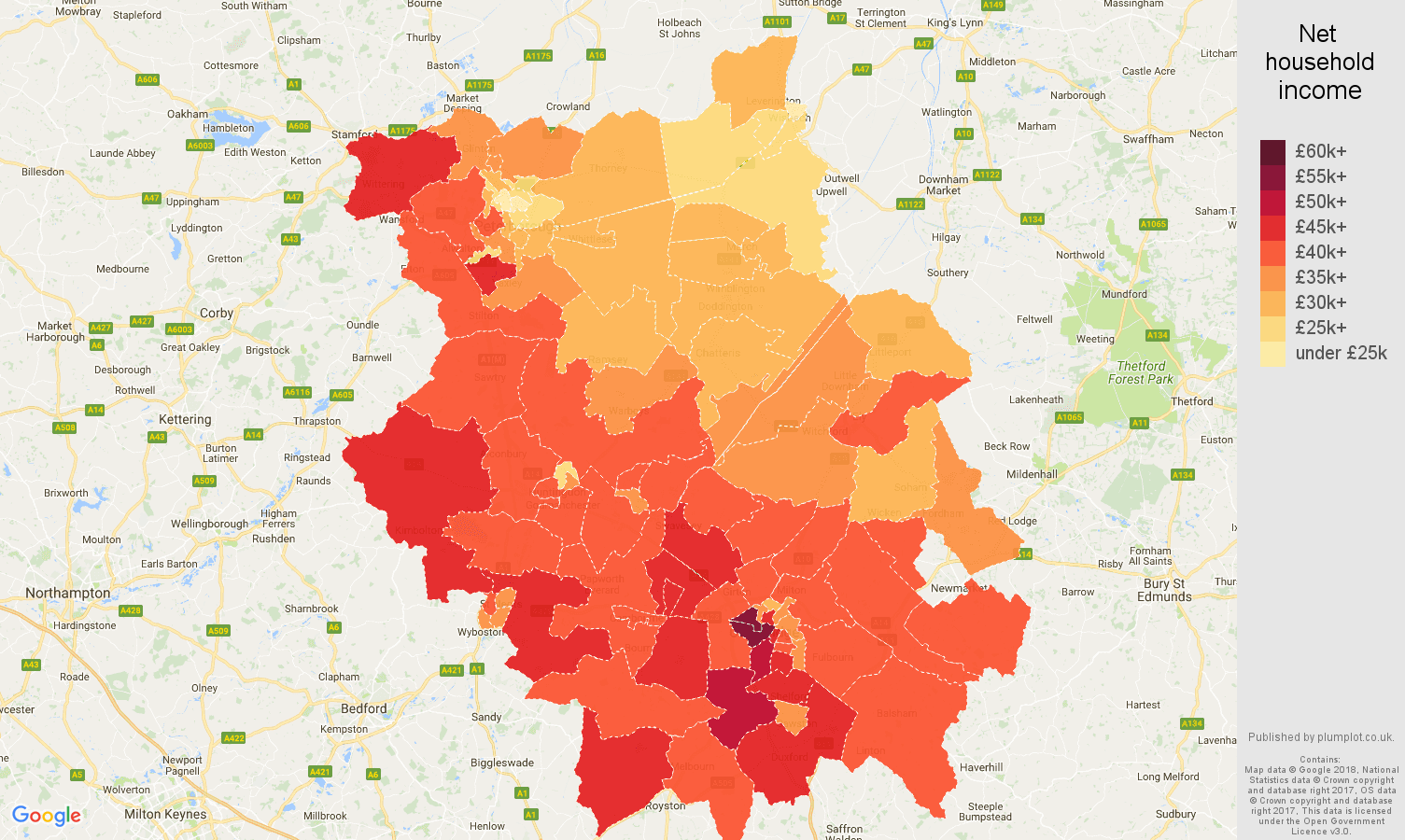 Cambridgeshire net household income map
