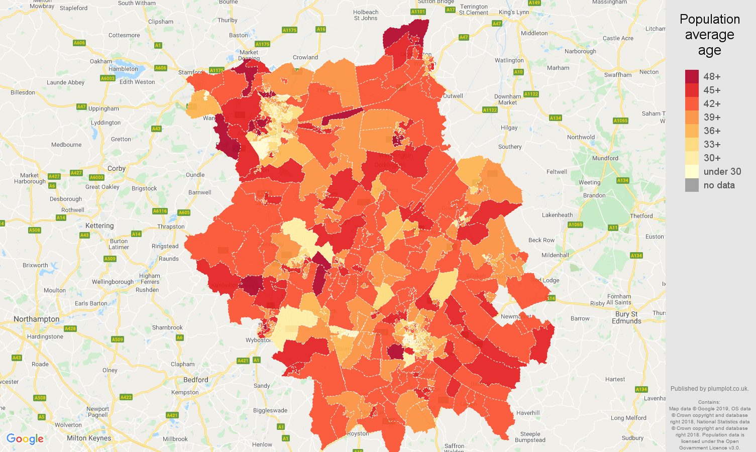 Cambridgeshire population average age map