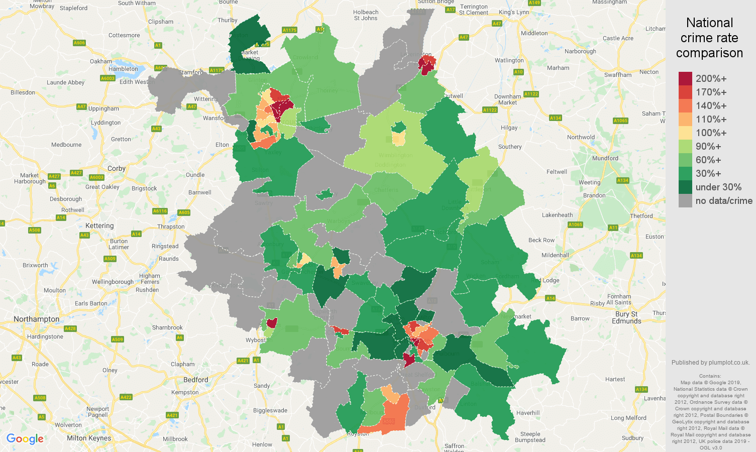 Cambridgeshire possession of weapons crime rate comparison map