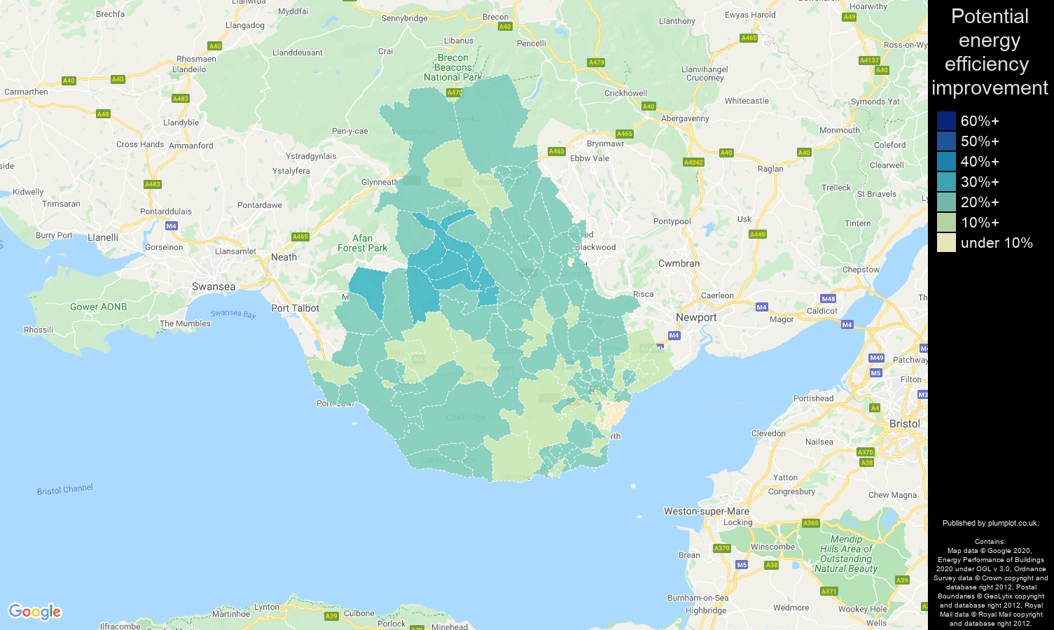 Cardiff map of potential energy efficiency improvement of properties