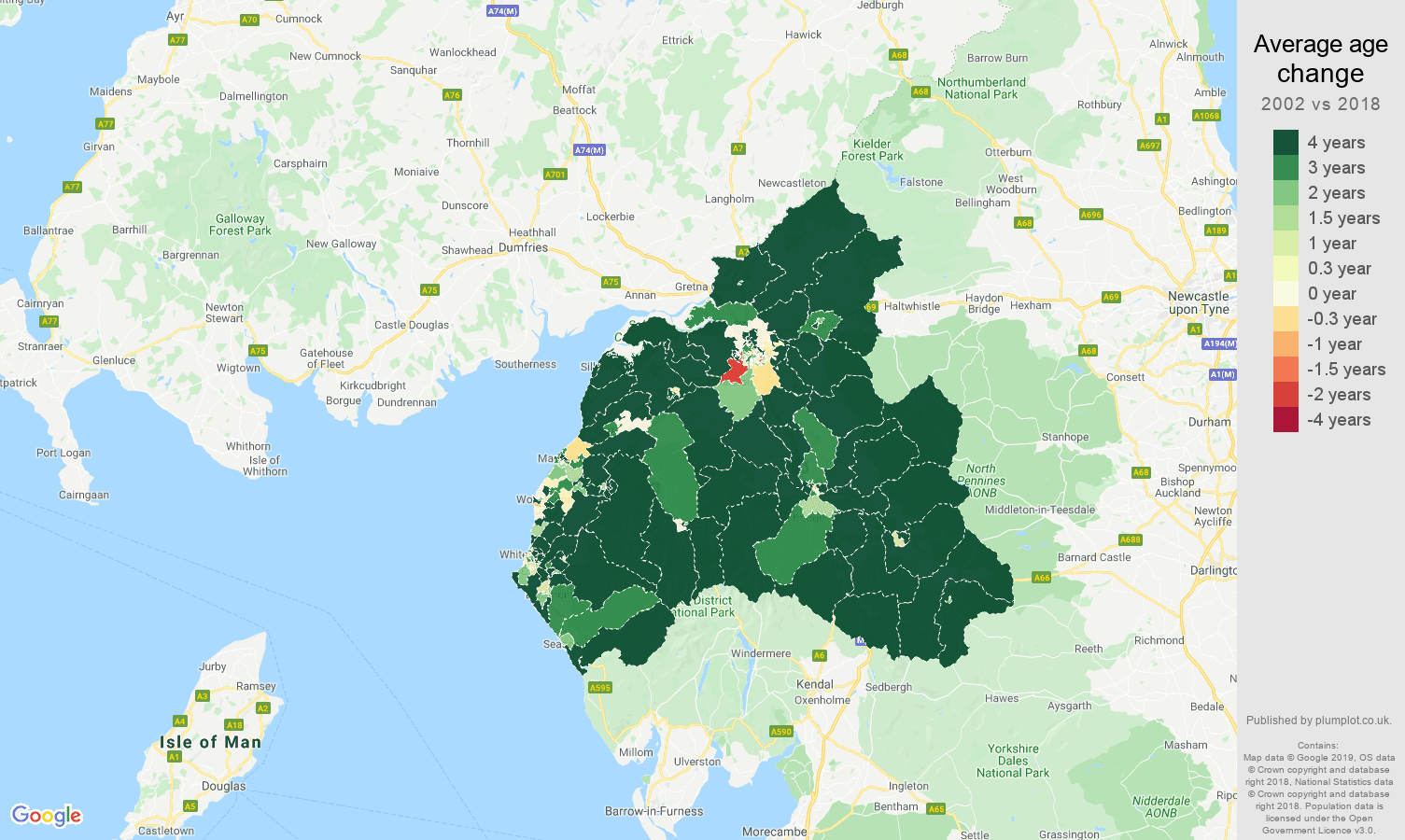 Carlisle average age change map