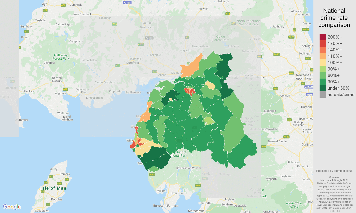 Carlisle violent crime rate comparison map