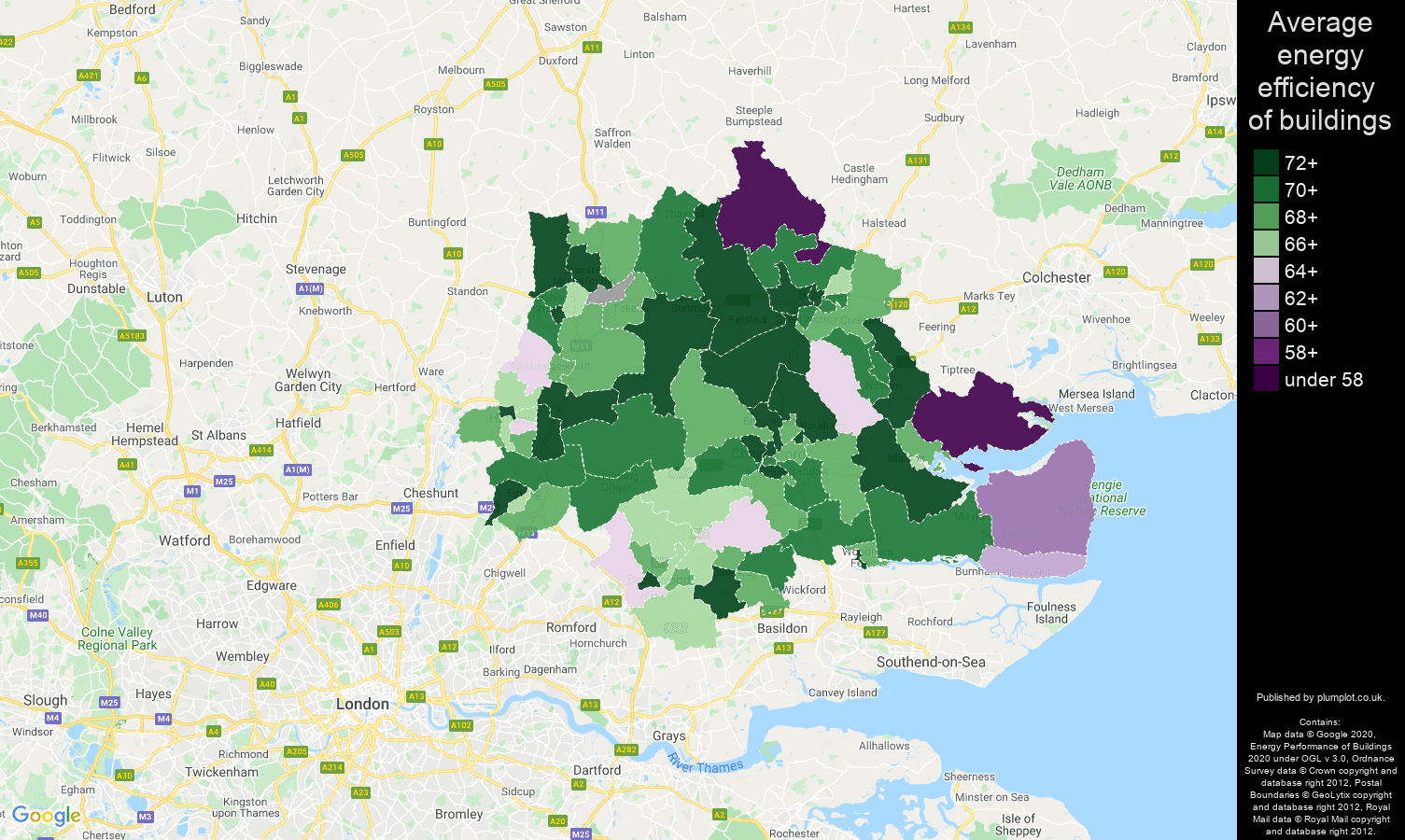 Chelmsford map of energy efficiency of flats