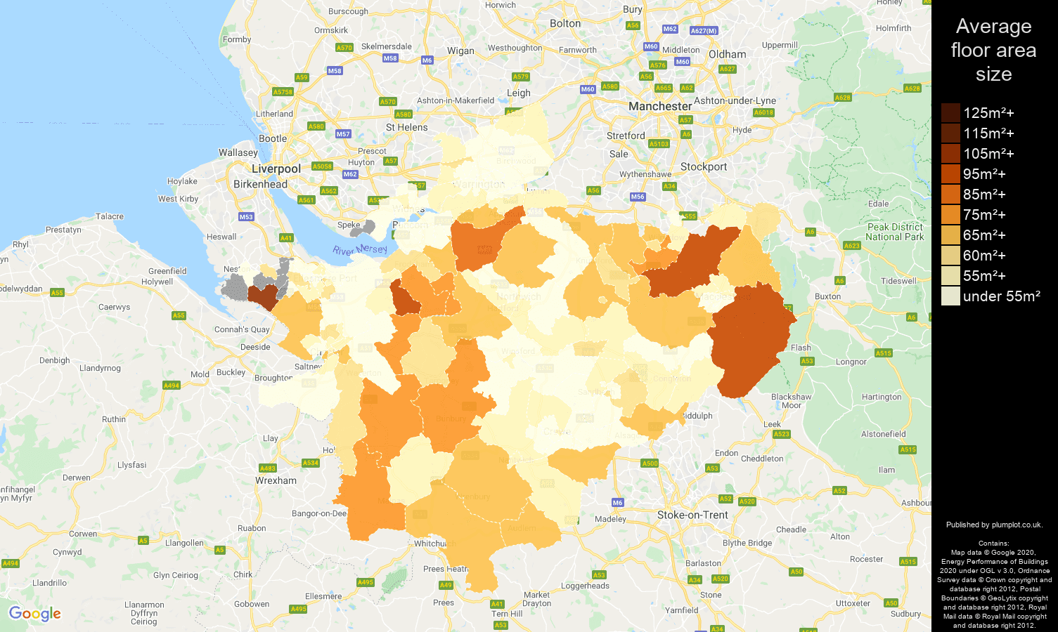 Cheshire map of average floor area size of flats