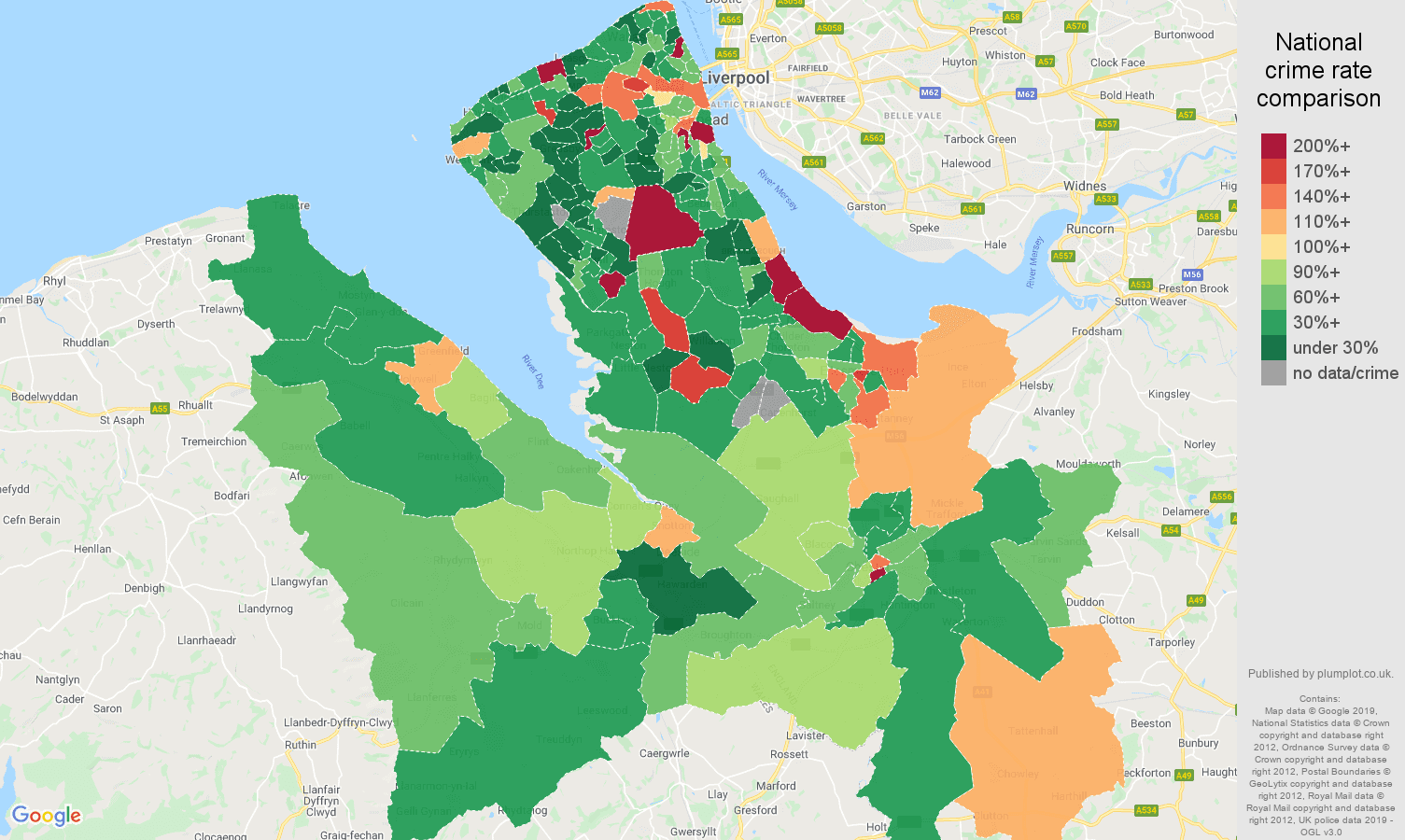 Chester other theft crime rate comparison map