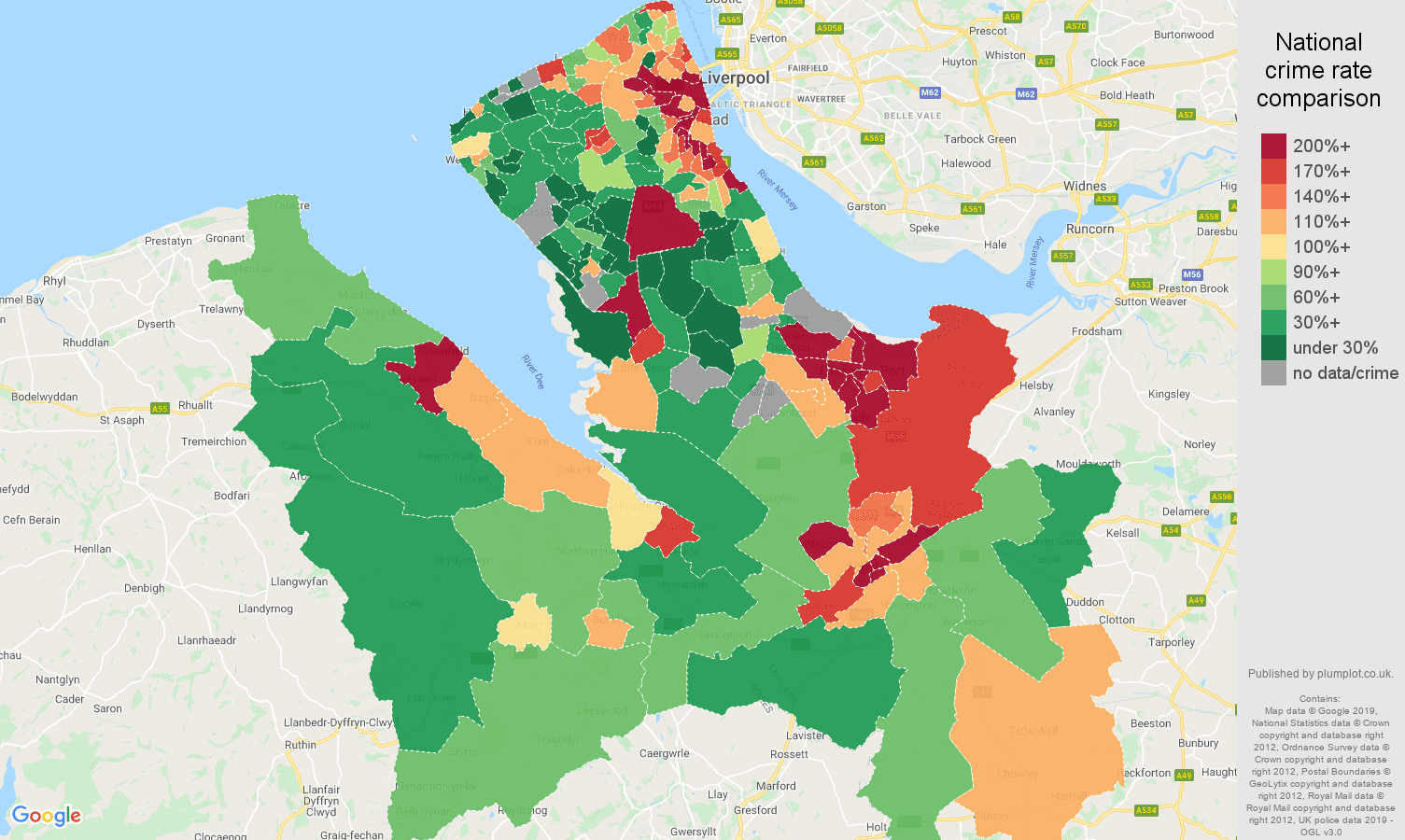 Chester public order crime rate comparison map