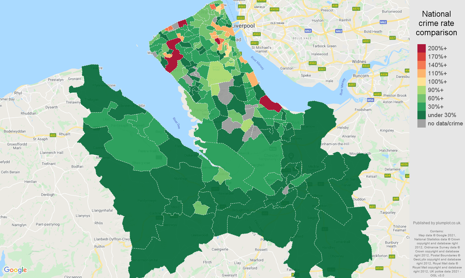 Chester vehicle crime rate comparison map