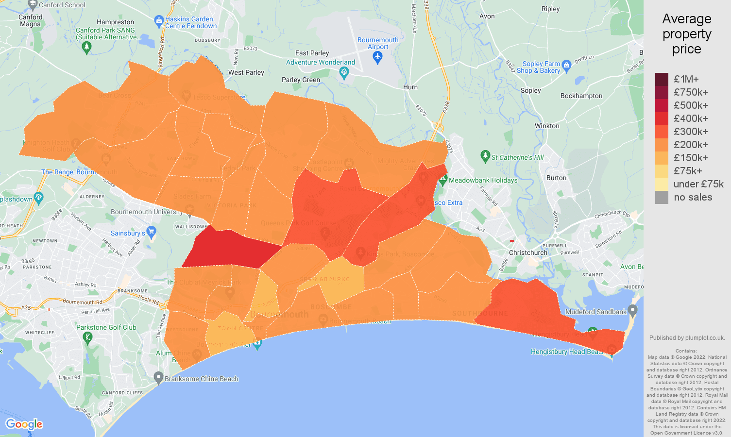 Bournemouth house prices map
