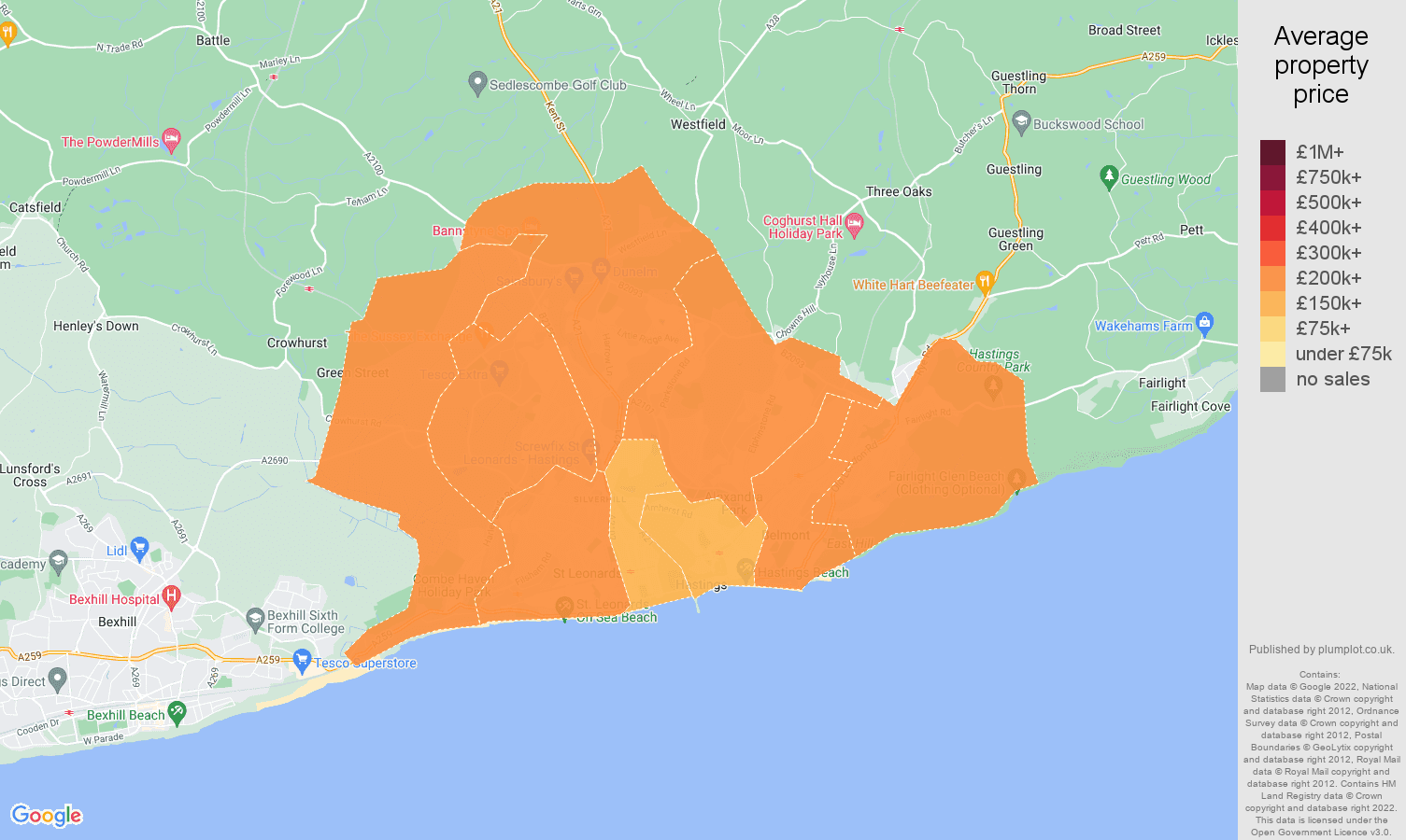 Hastings house prices map
