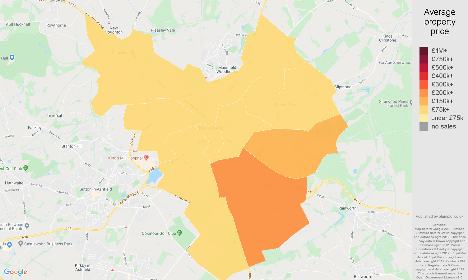 Mansfield house prices map