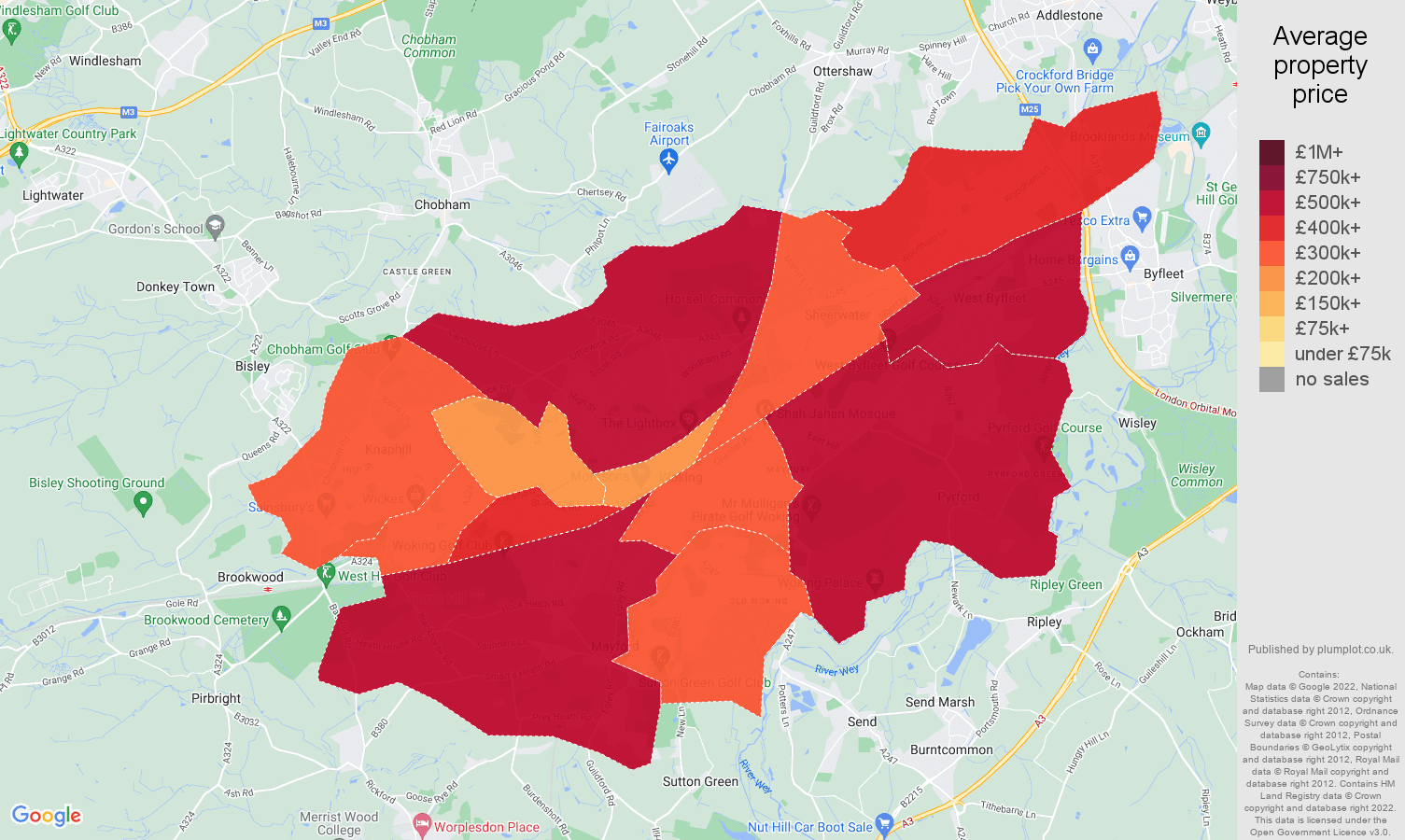 Woking house prices map