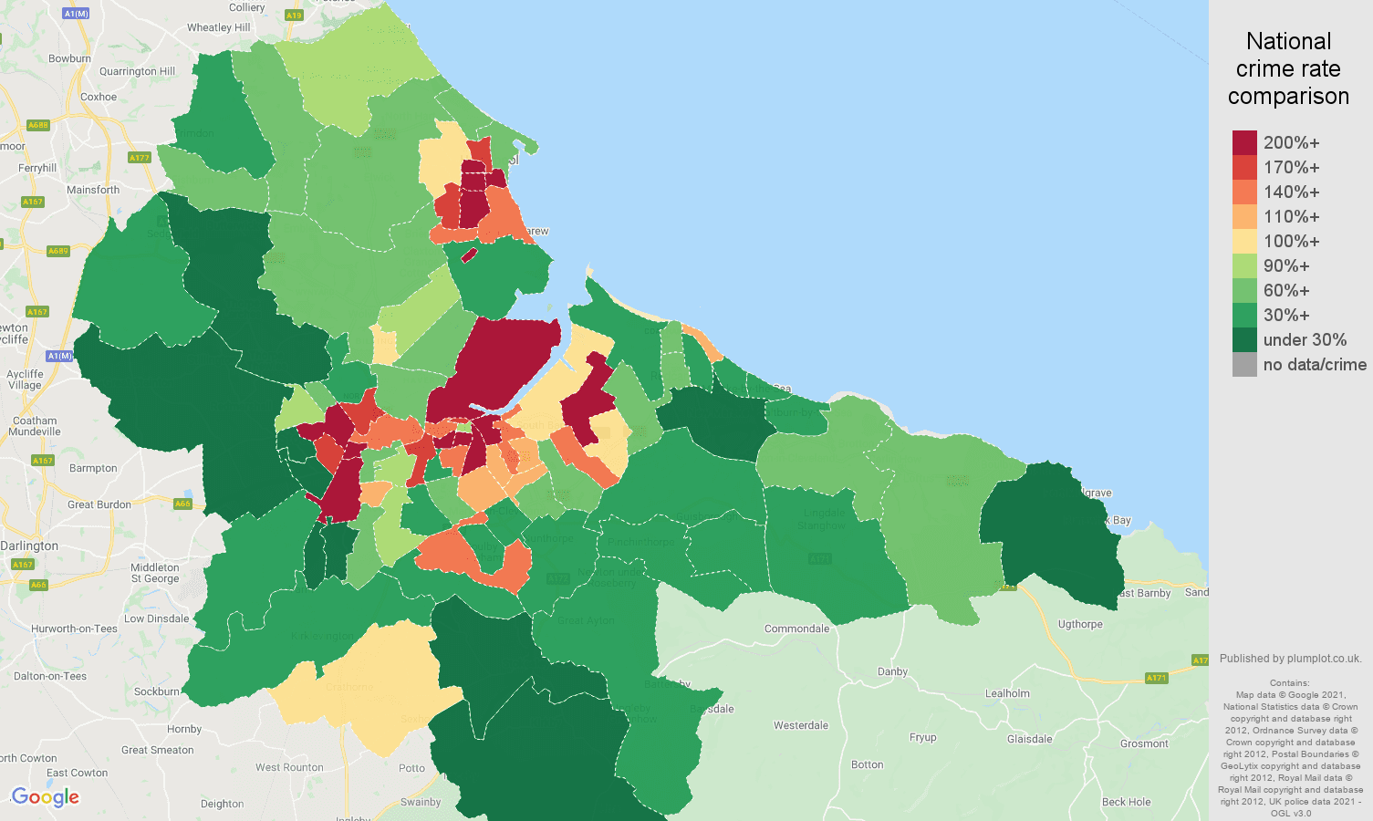Cleveland drugs crime rate comparison map