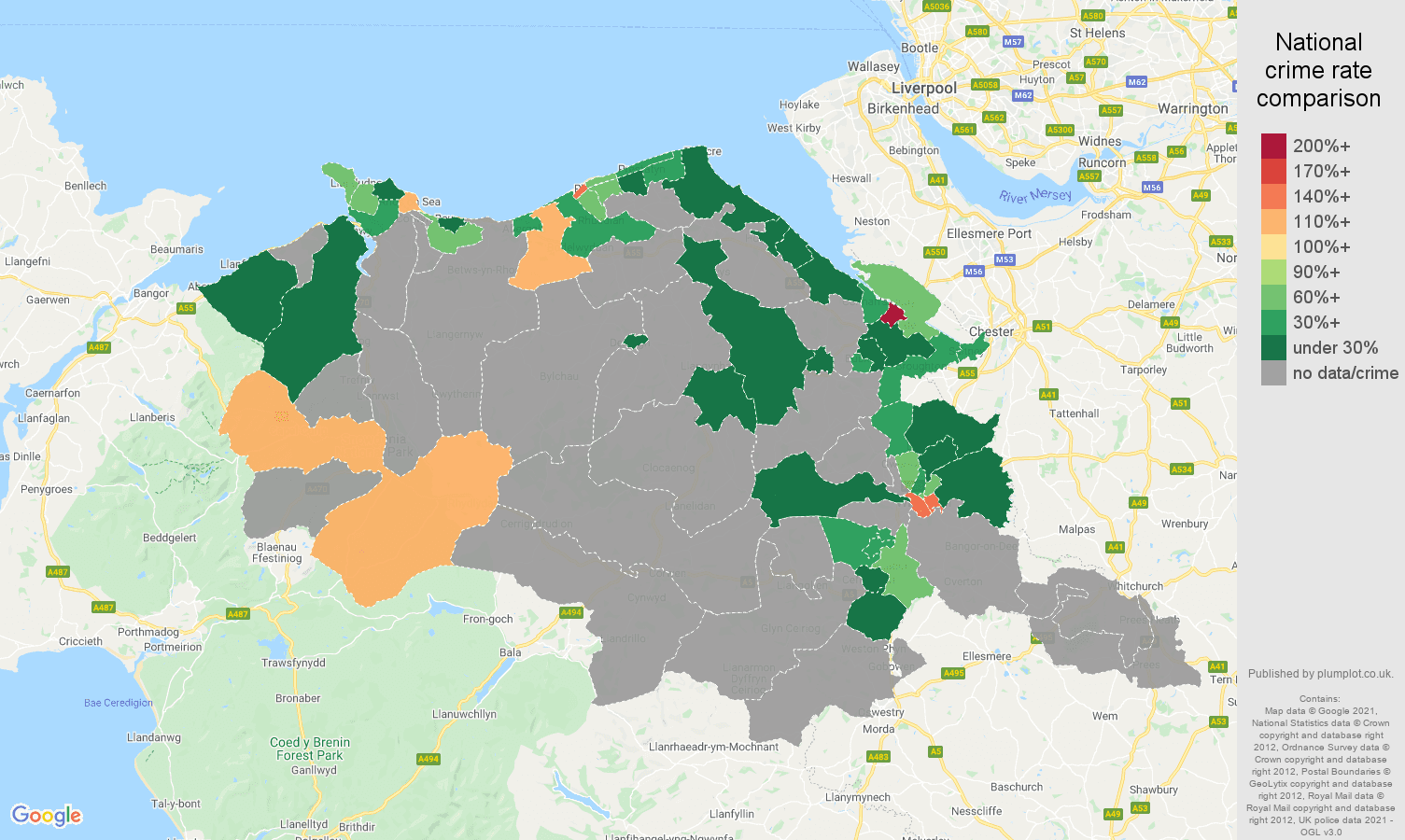 Clwyd bicycle theft crime rate comparison map