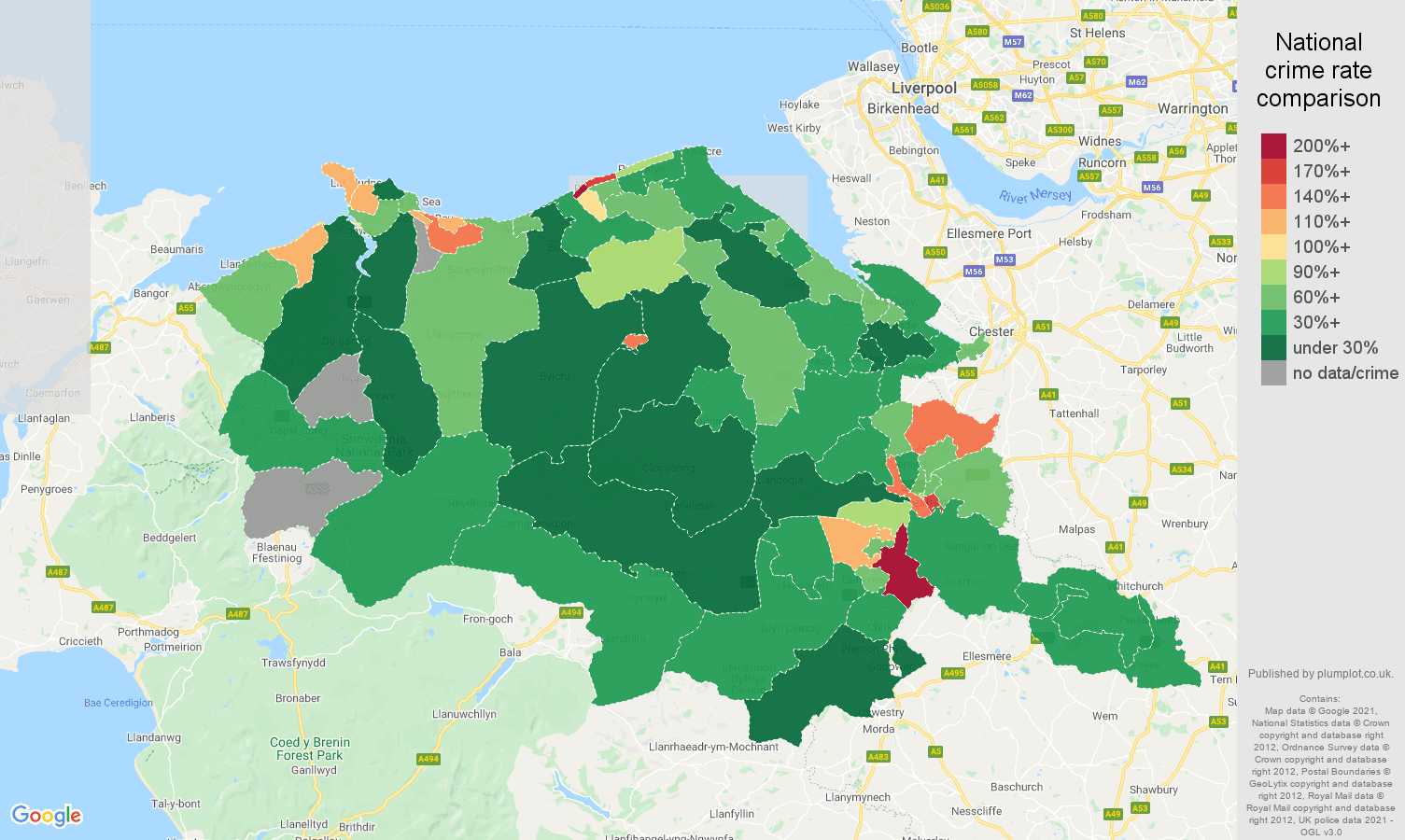 Clwyd drugs crime rate comparison map