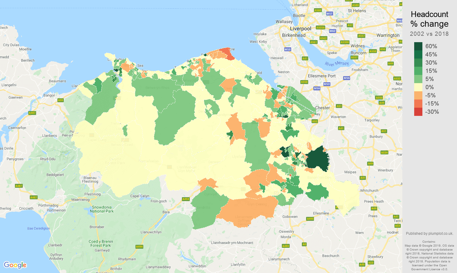 Clwyd headcount change map