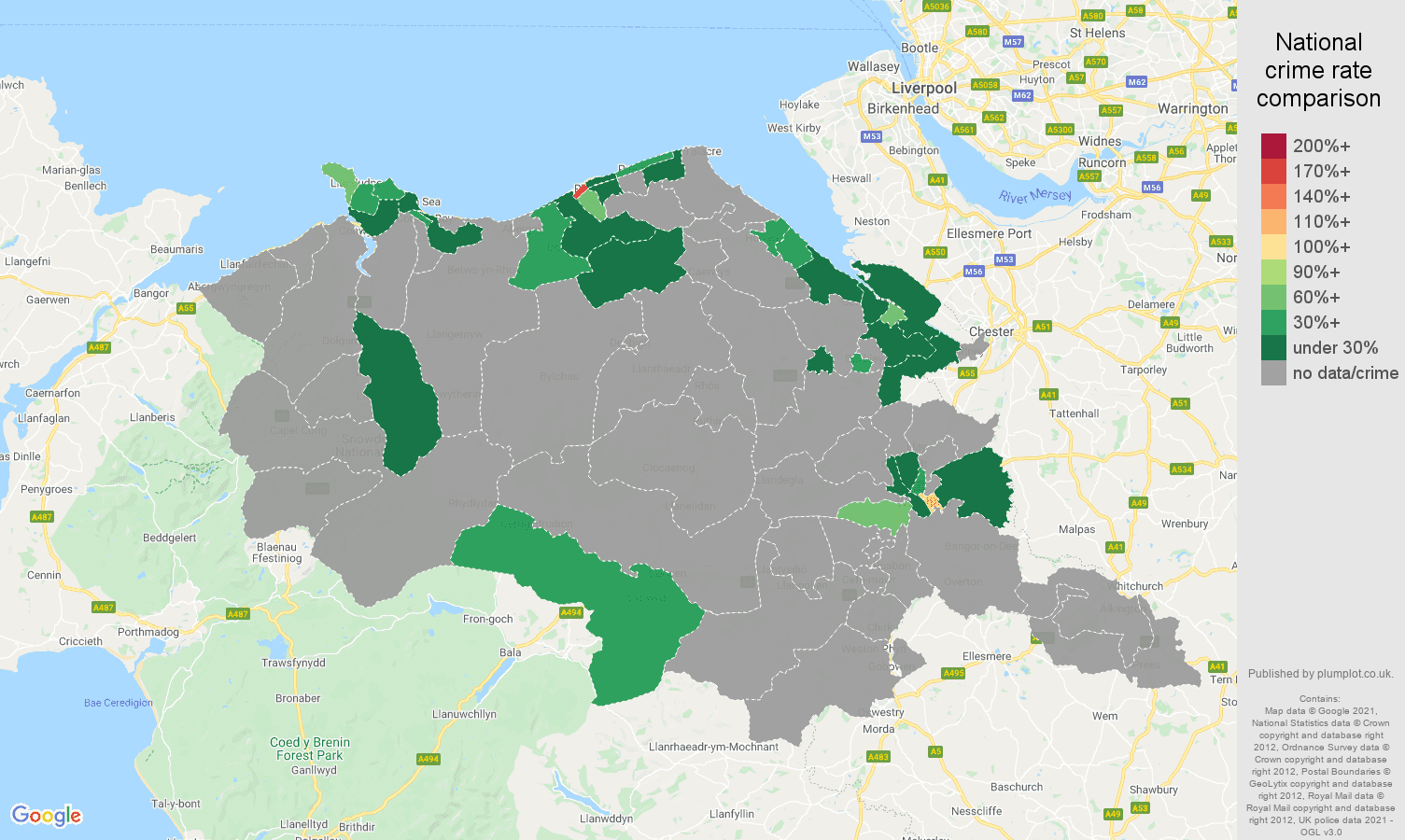 Clwyd theft from the person crime rate comparison map