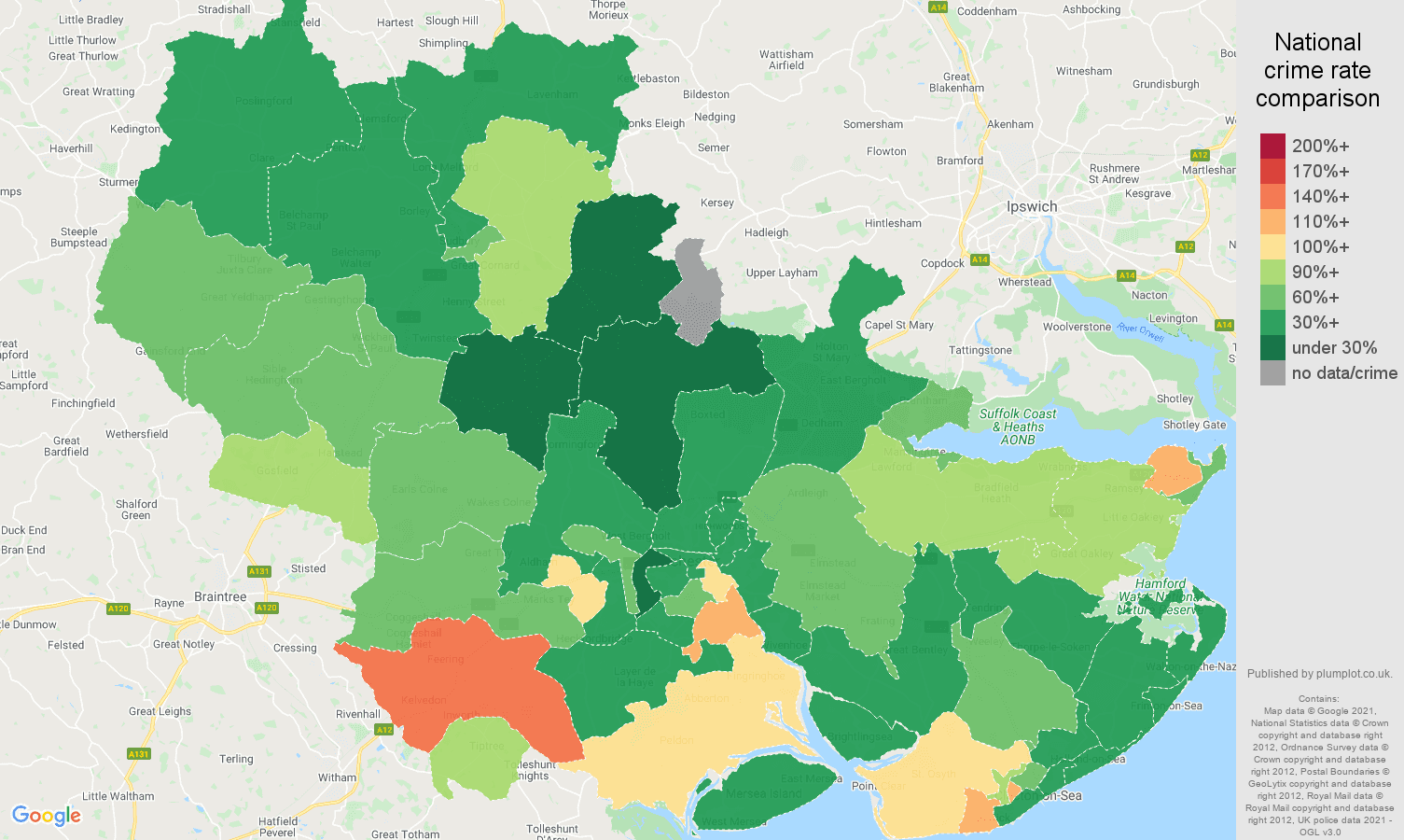 Colchester vehicle crime rate comparison map
