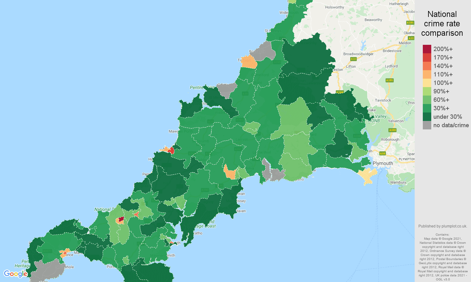 Cornwall drugs crime rate comparison map