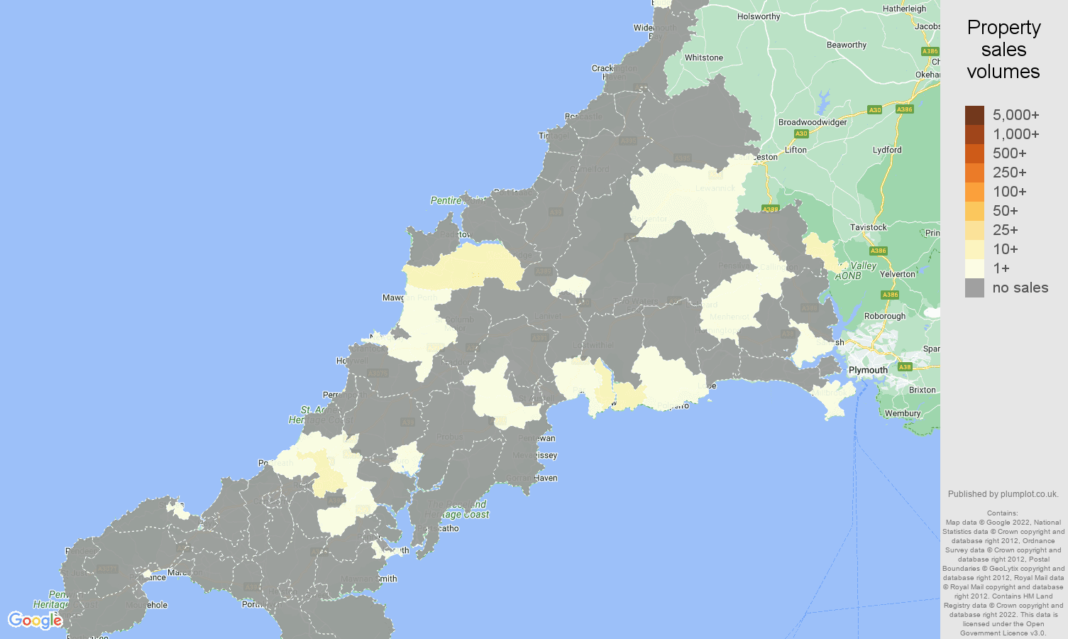 Cornwall map of sales of new properties