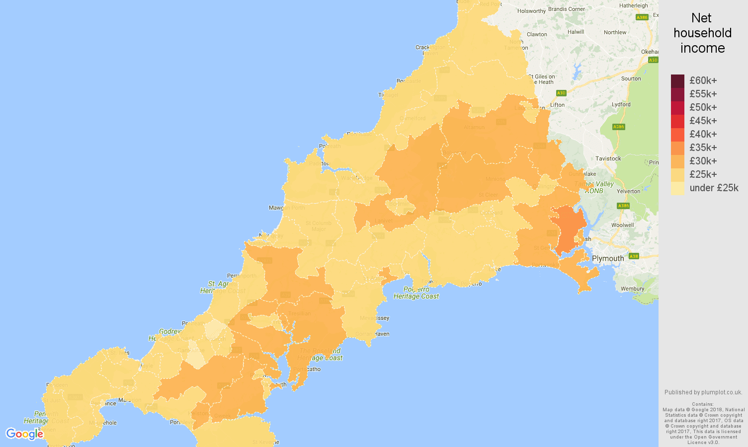 Cornwall net household income map