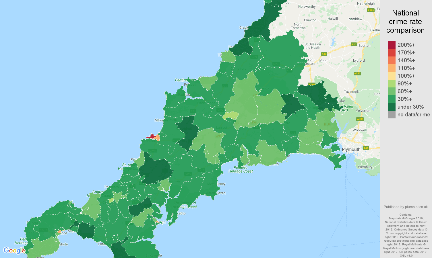 Cornwall other theft crime rate comparison map