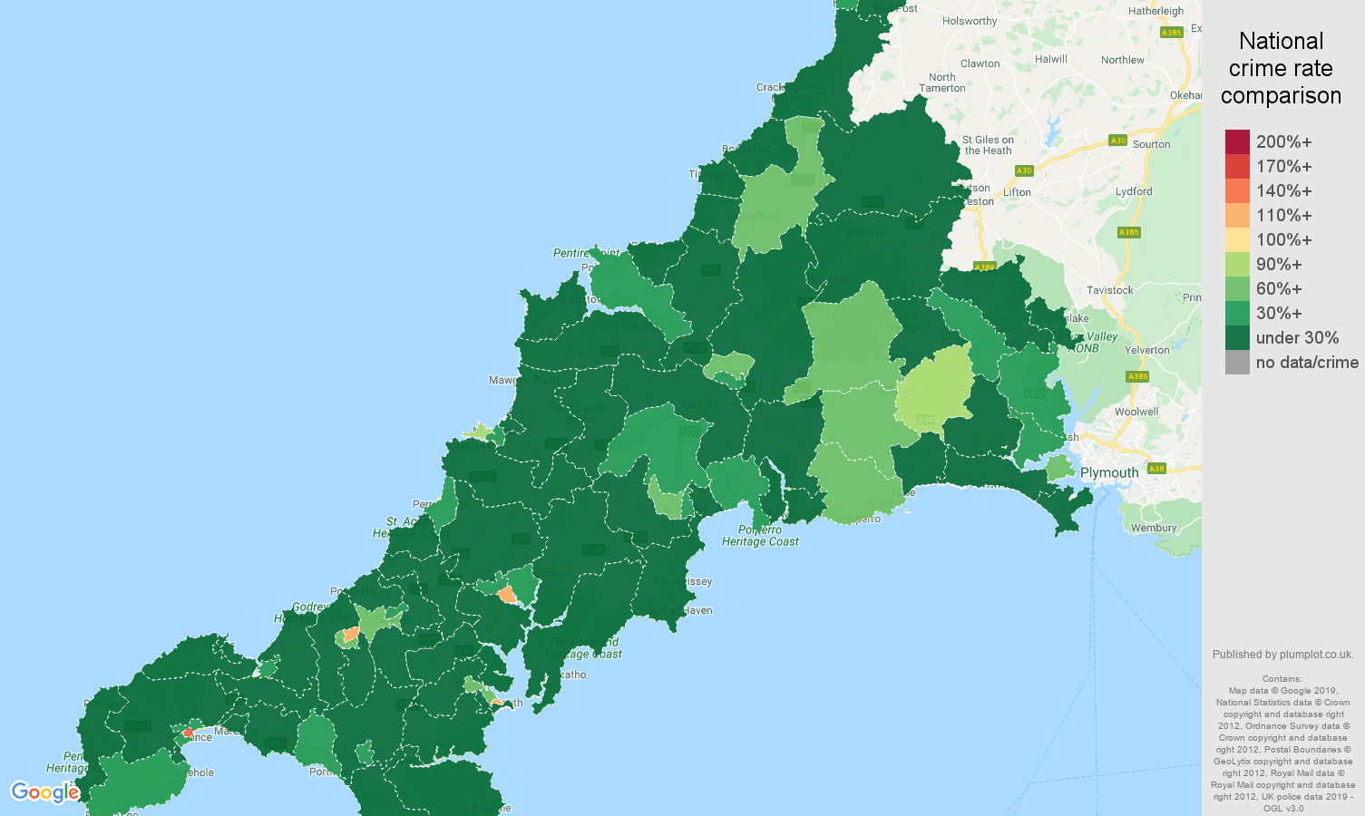 Cornwall public order crime rate comparison map