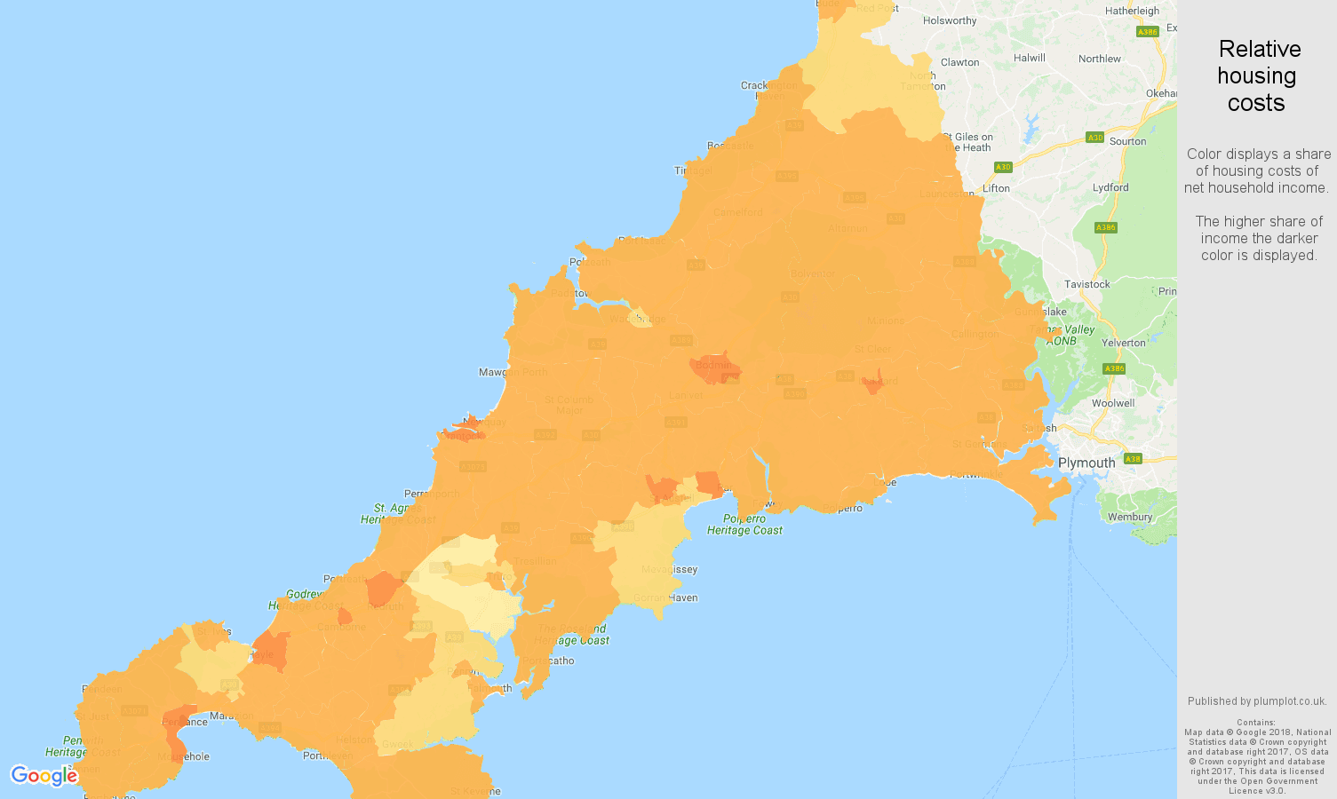 Cornwall relative housing costs map