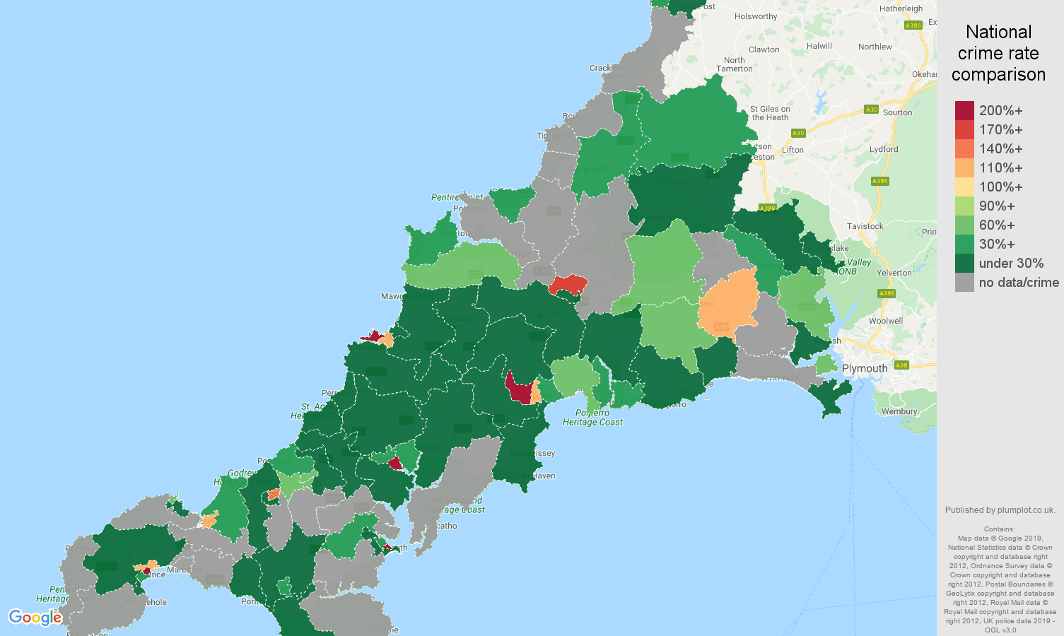 Cornwall shoplifting crime rate comparison map