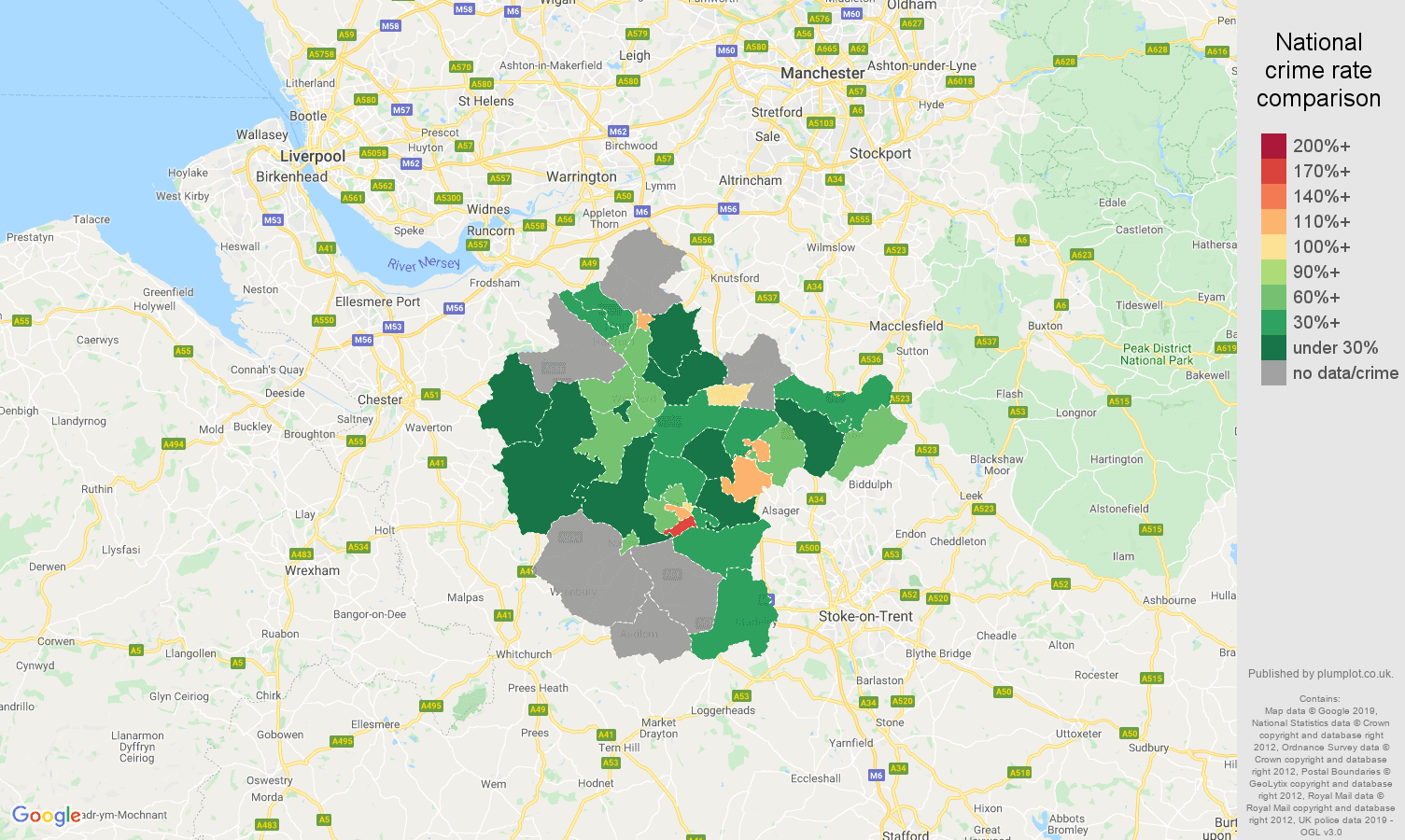 Crewe possession of weapons crime rate comparison map