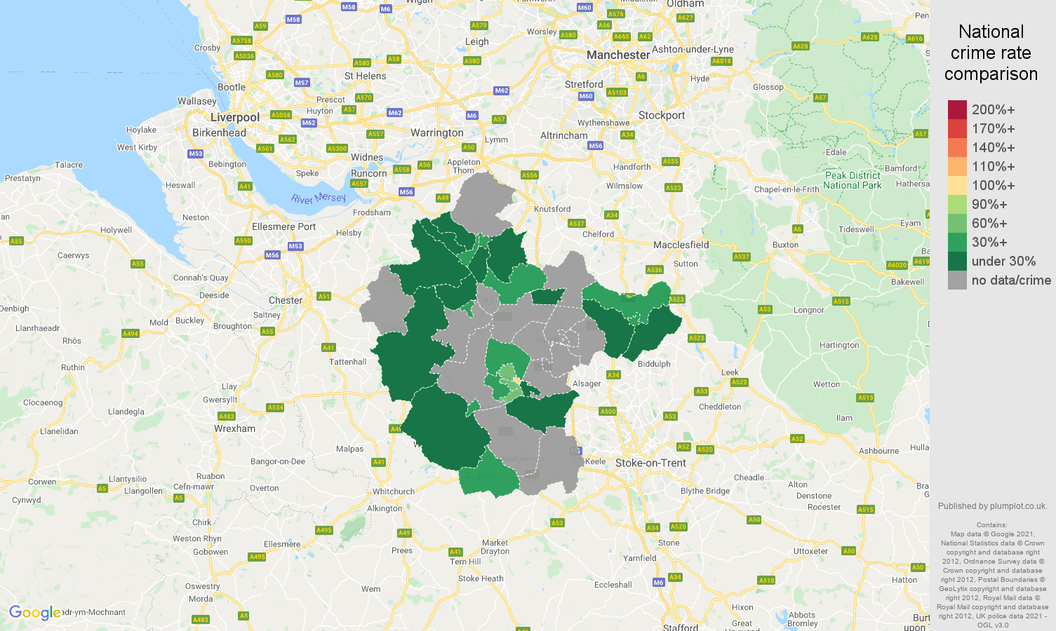 Crewe robbery crime rate comparison map