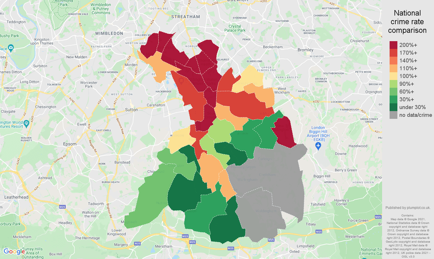 Croydon robbery crime rate comparison map