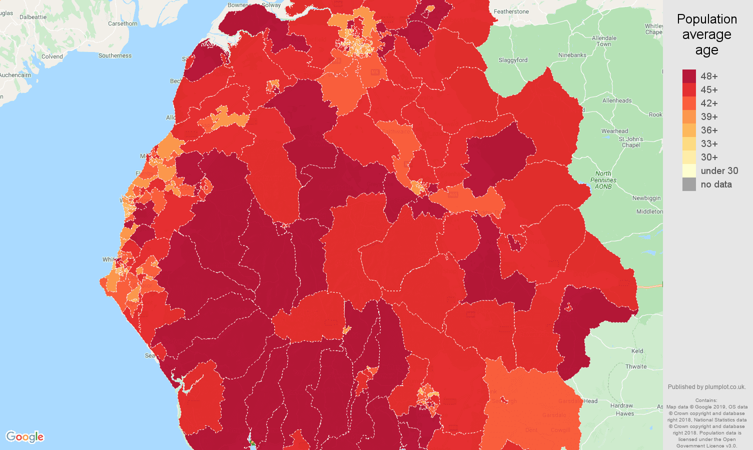 Cumbria population average age map