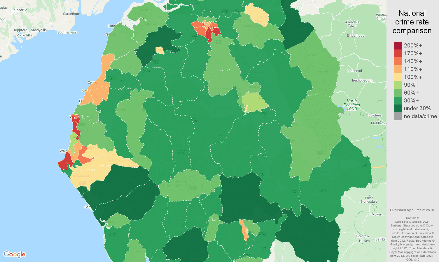 Cumbria violent crime rate comparison map