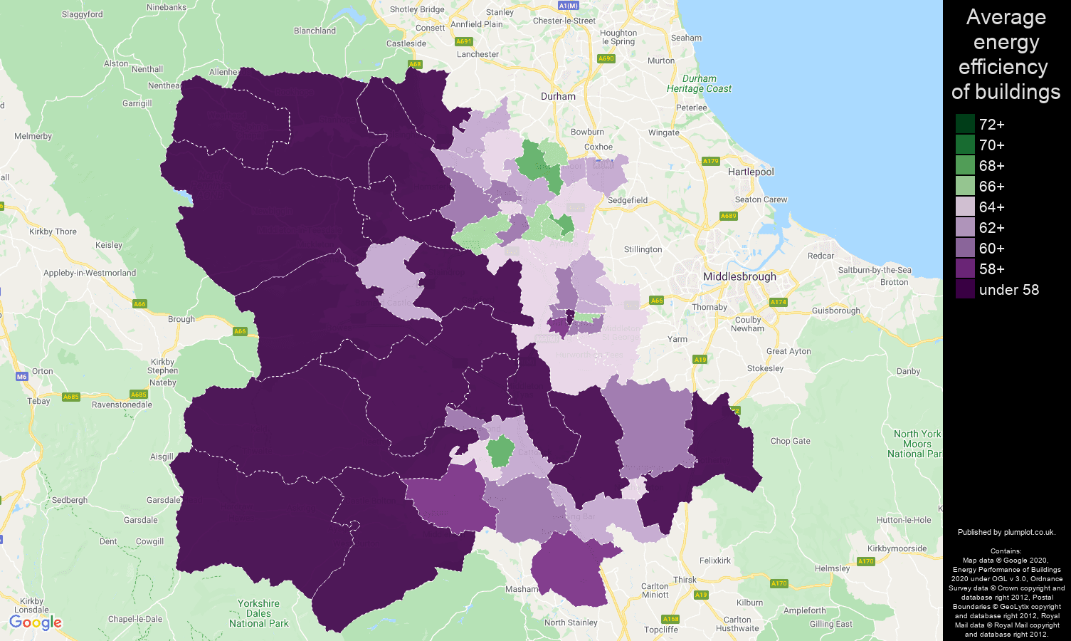 Darlington map of energy efficiency of houses