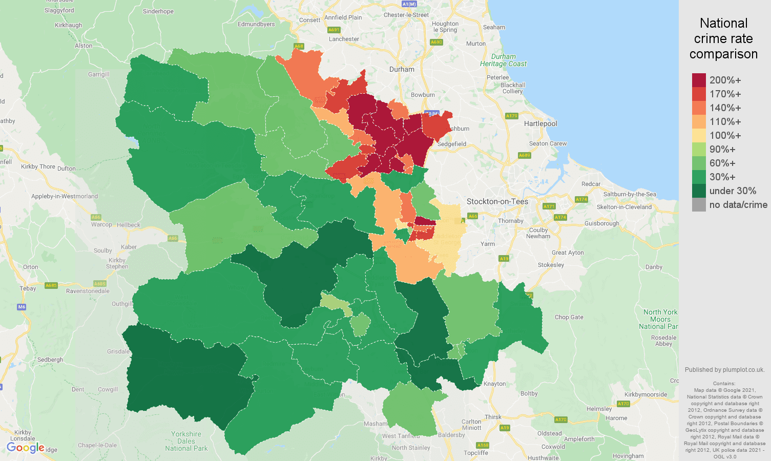 Darlington violent crime rate comparison map