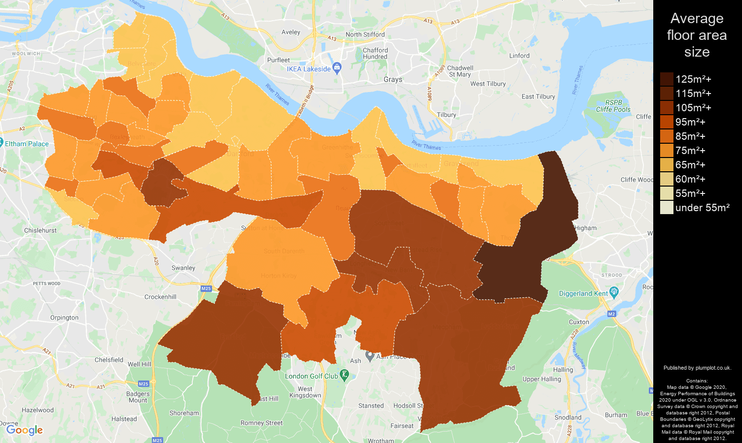 Dartford map of average floor area size of properties