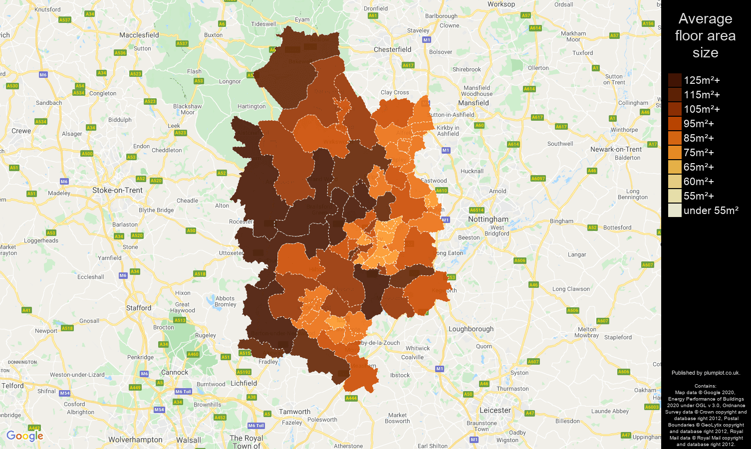 Derby map of average floor area size of houses