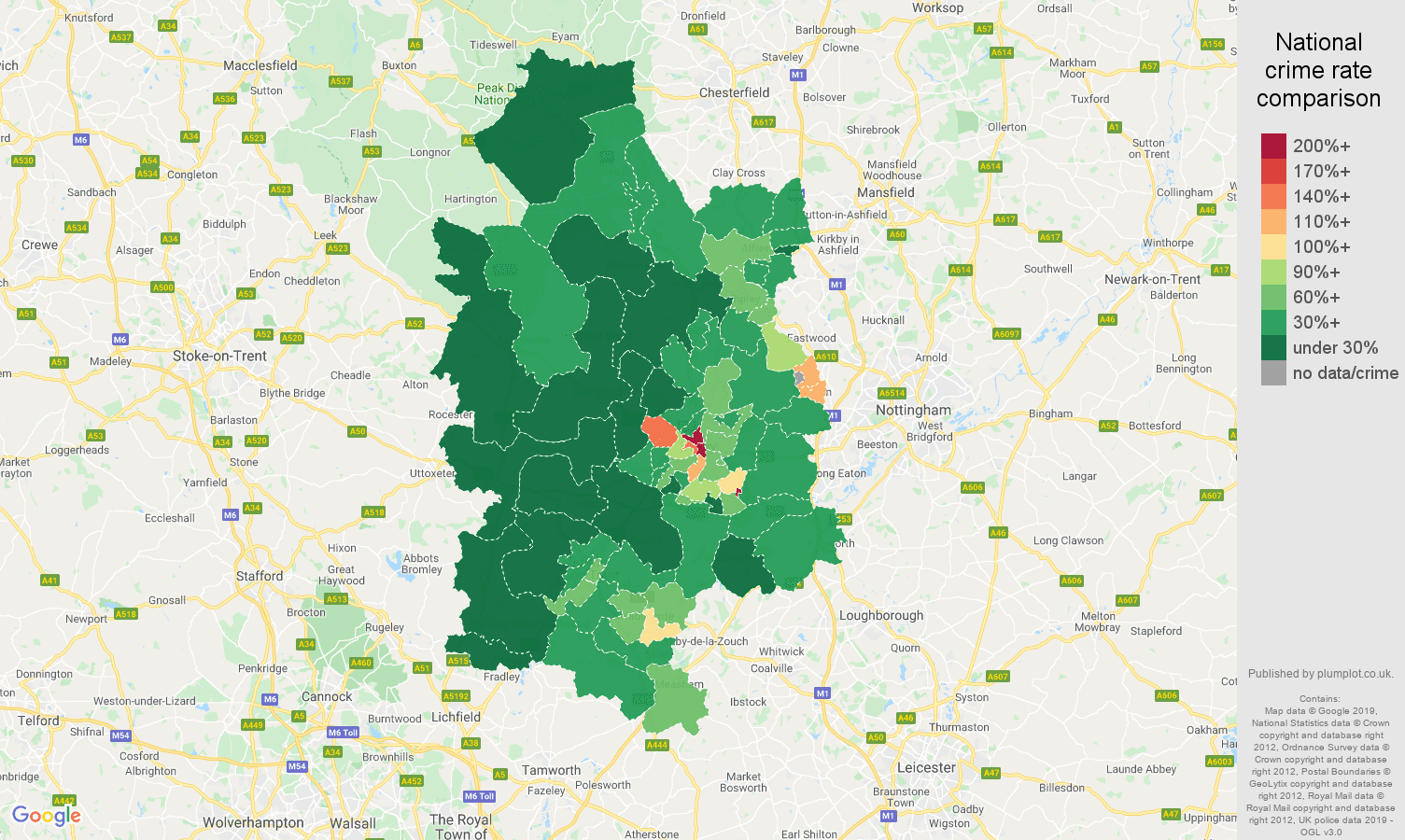 Derby public order crime rate comparison map