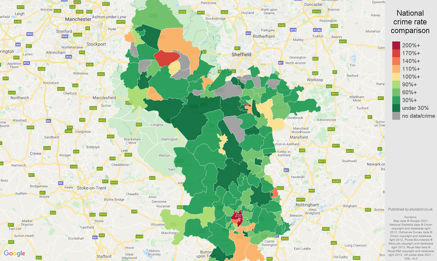 Derbyshire drugs crime rate comparison map