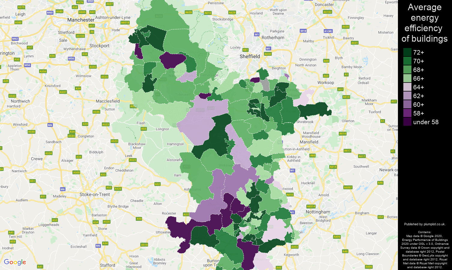 Derbyshire map of energy efficiency of flats