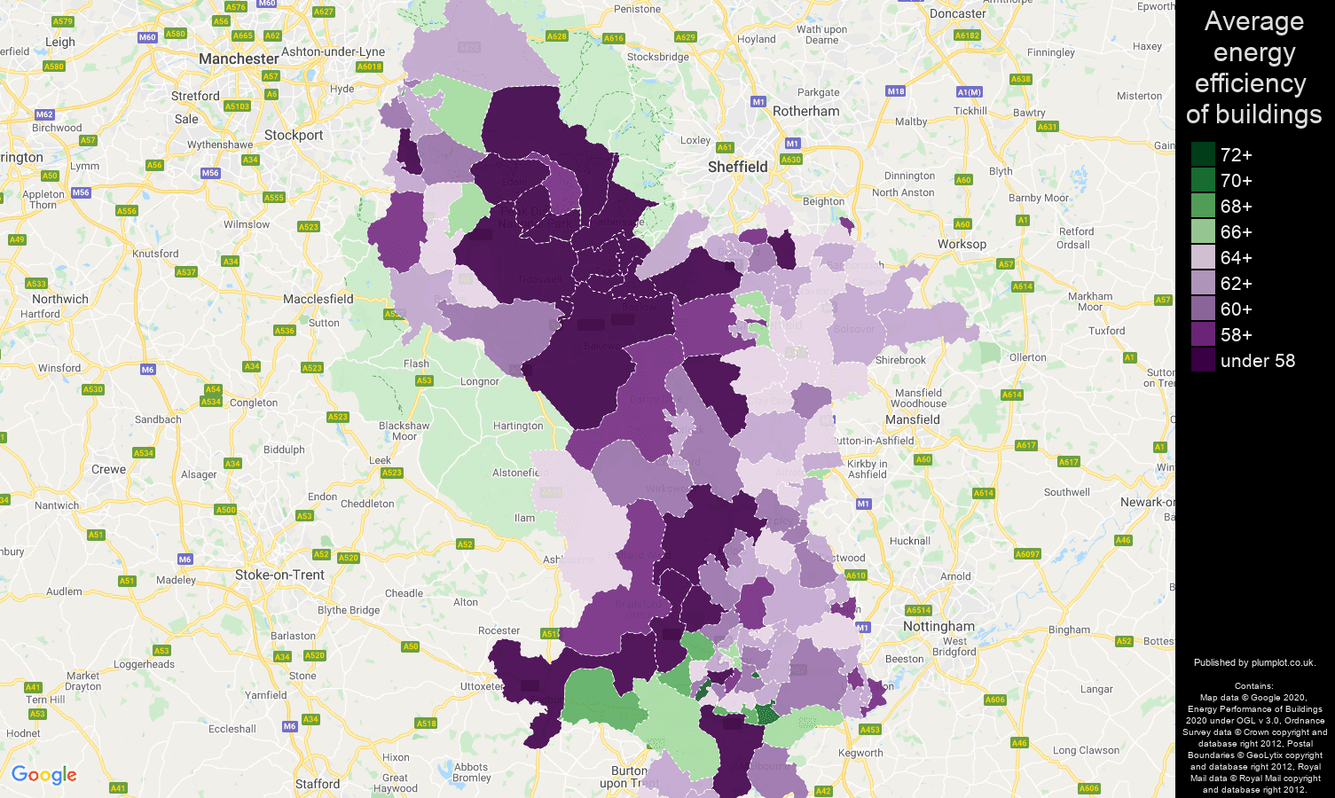 Derbyshire map of energy efficiency of properties