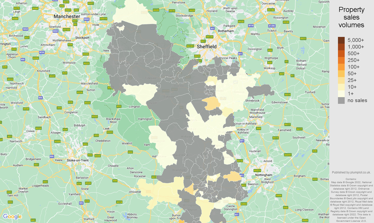 Derbyshire map of sales of new properties