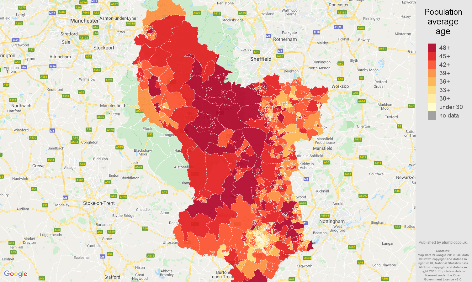 Derbyshire population average age map