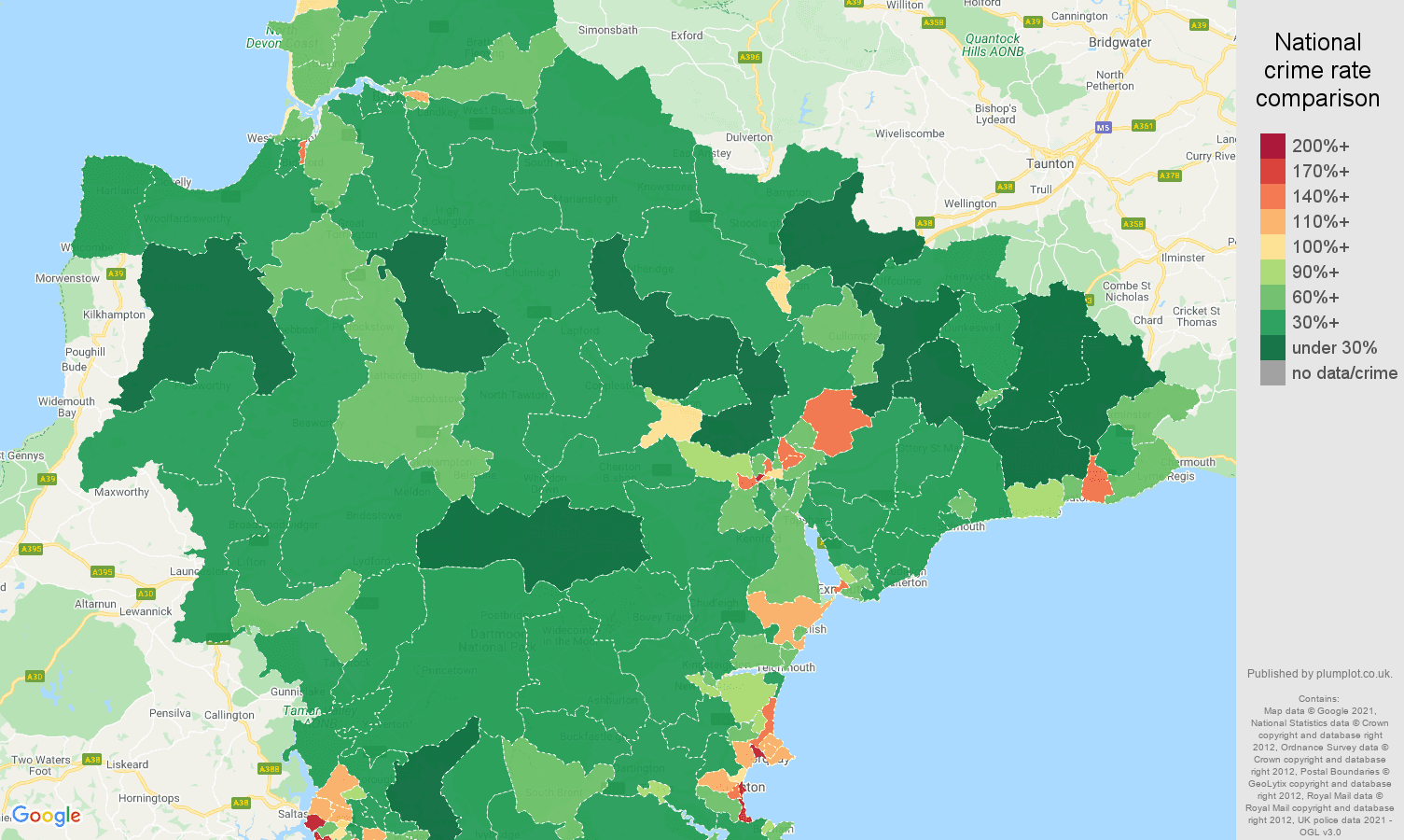 Devon antisocial behaviour crime rate comparison map