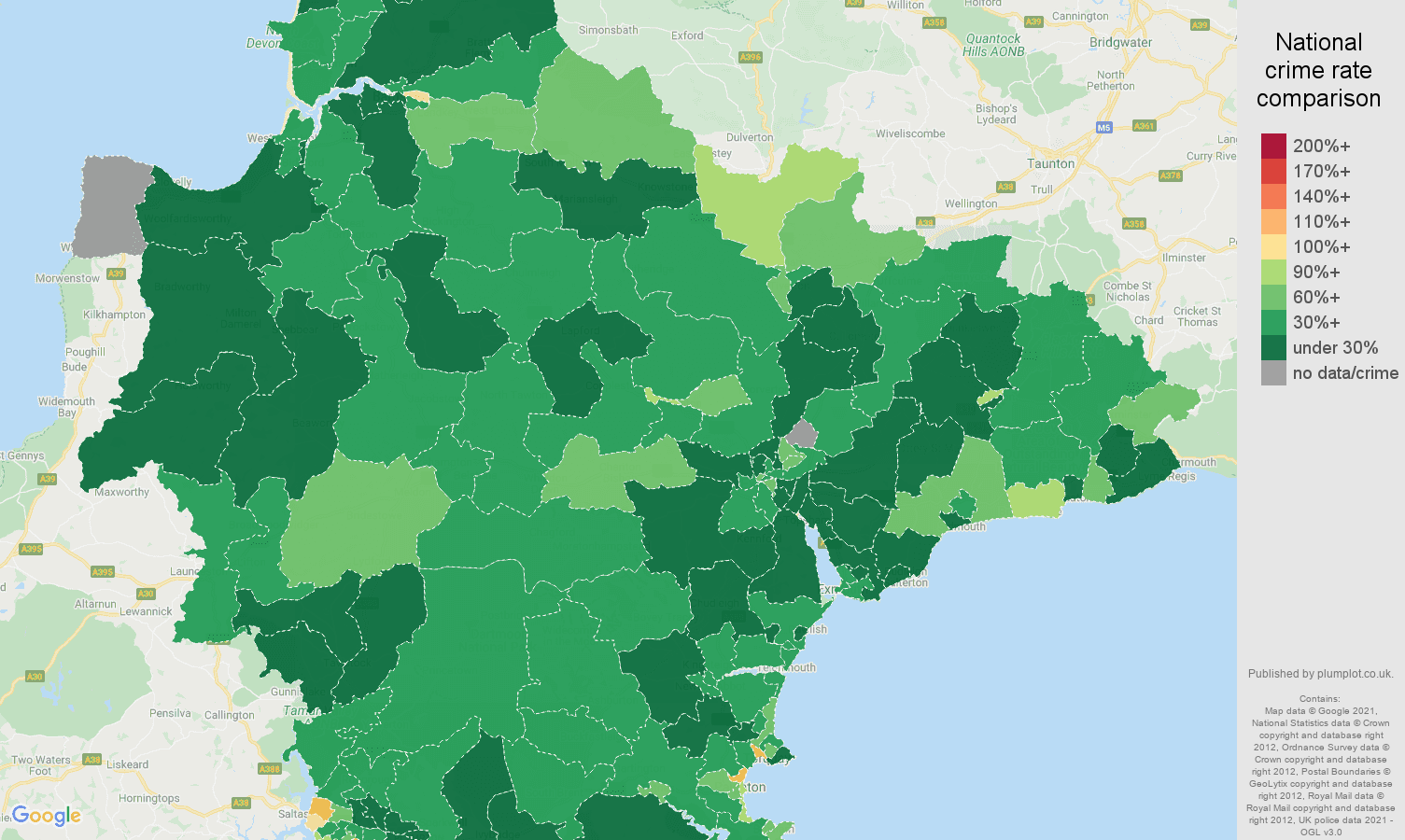 Devon burglary crime rate comparison map